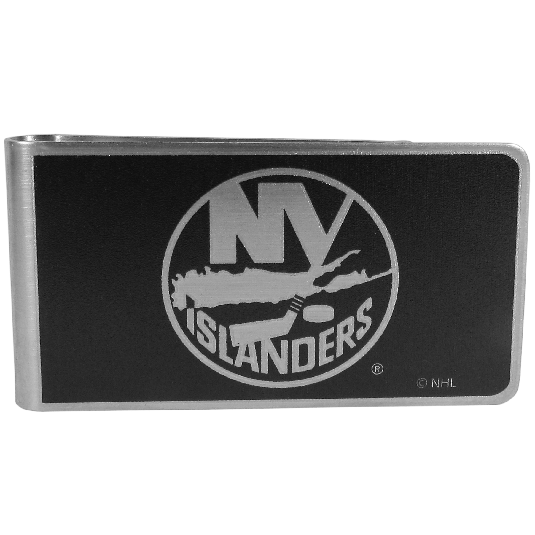 New York Islanders® Black and Steel Money Clip - Our monochromatic steel money clips have a classic style and superior quality. The strong, steel clip has a black overlay of the New York Islanders® logo over the brushed metal finish creating a stylish men's fashion accessory that would make any fan proud.