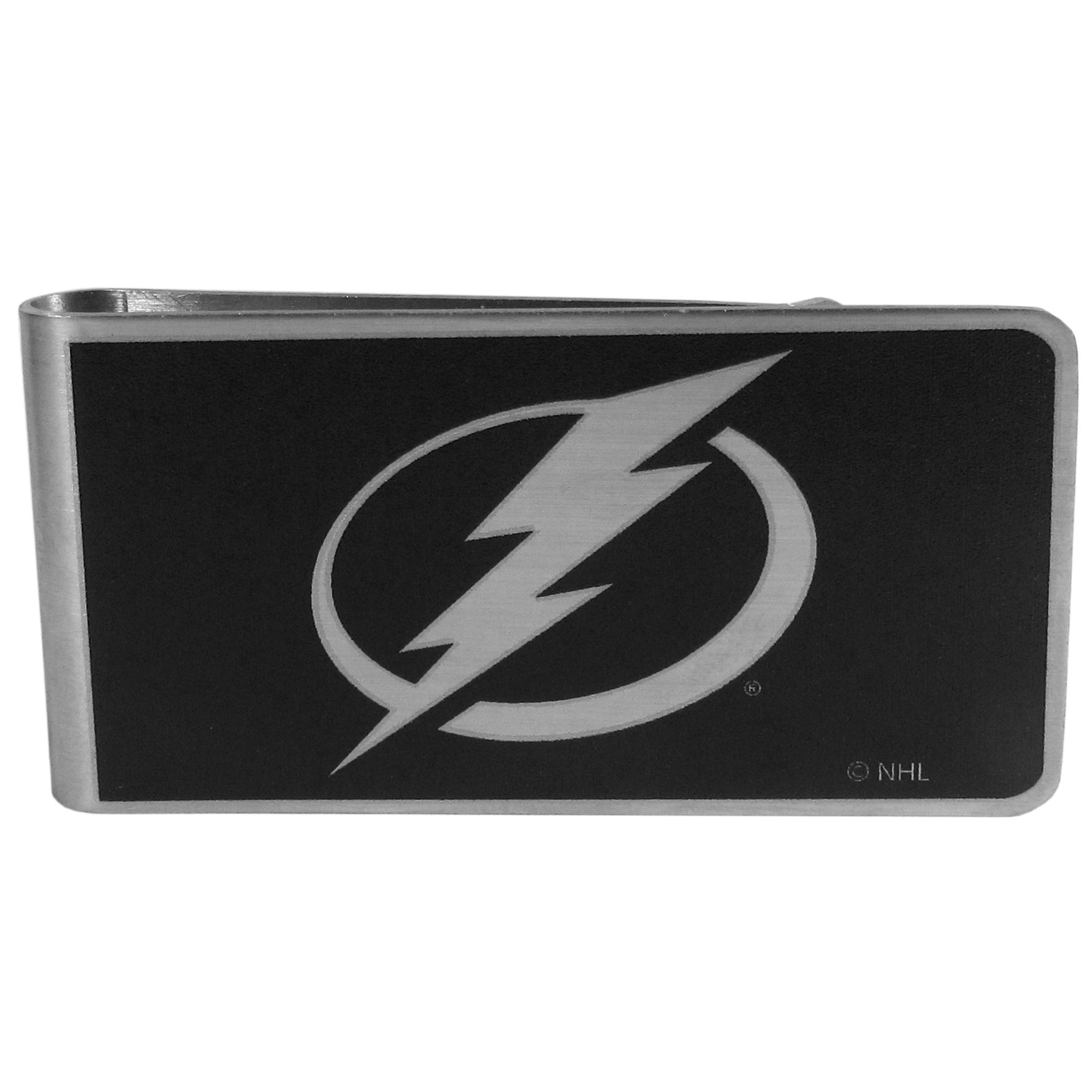 Tampa Bay Lightning® Black and Steel Money Clip - Our monochromatic steel money clips have a classic style and superior quality. The strong, steel clip has a black overlay of the Tampa Bay Lightning® logo over the brushed metal finish creating a stylish men's fashion accessory that would make any fan proud.