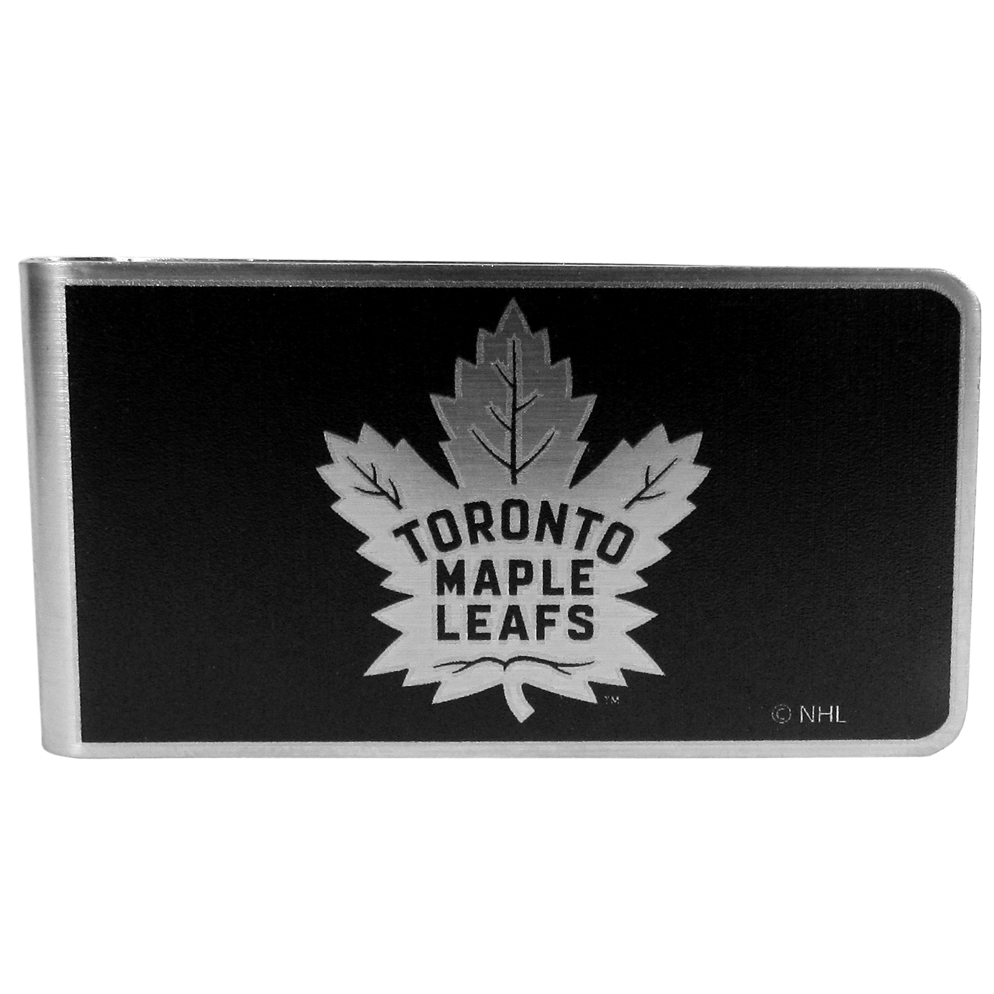 Toronto Maple Leafs® Black and Steel Money Clip - Our monochromatic steel money clips have a classic style and superior quality. The strong, steel clip has a black overlay of the Toronto Maple Leafs® logo over the brushed metal finish creating a stylish men's fashion accessory that would make any fan proud.