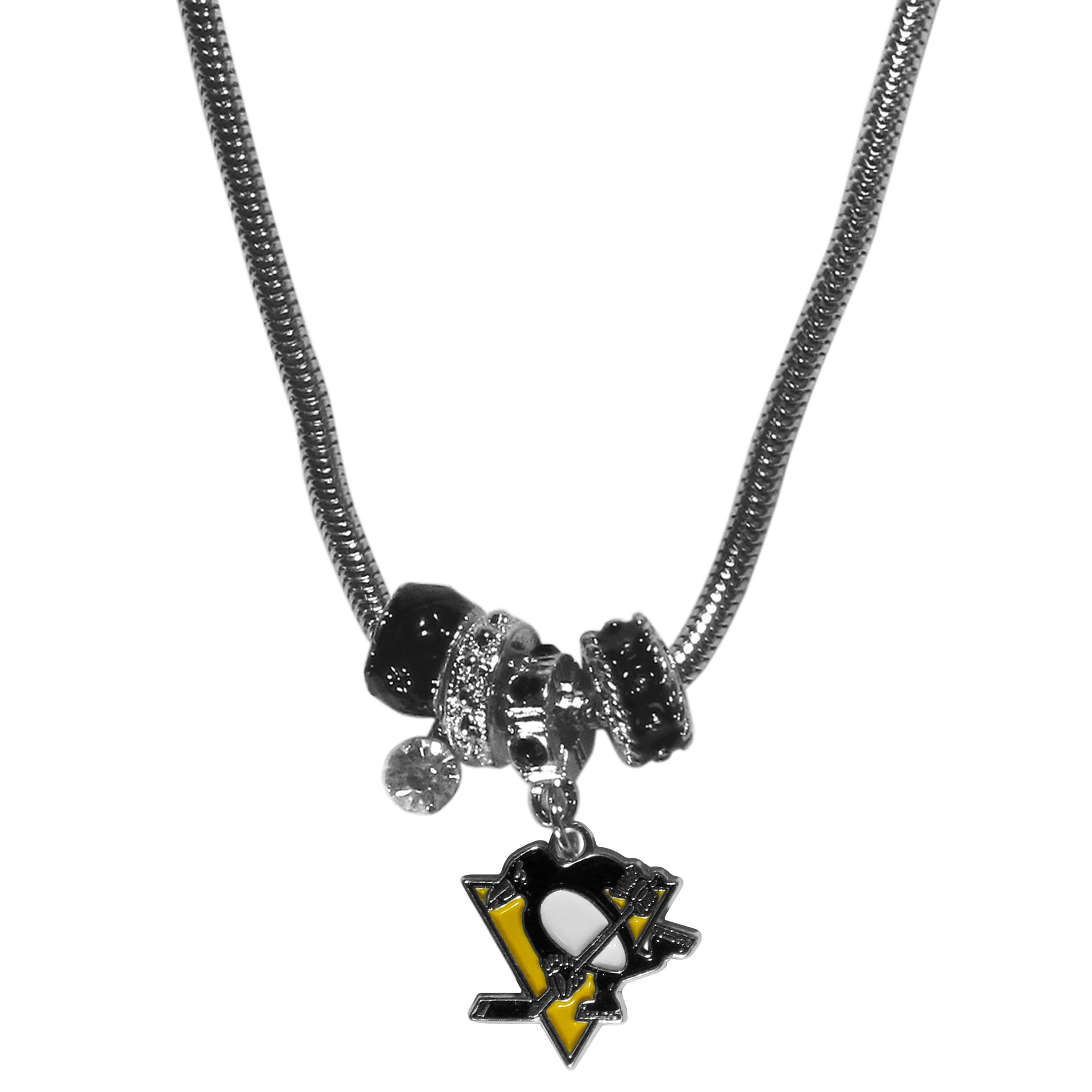 Pittsburgh Penguins Euro Bead Necklace - We have combined the wildly popular Euro style beads with your favorite team to create our Pittsburgh Penguins euro bead necklace. The 18 inch snake chain features 4 Euro beads with enameled Pittsburgh Penguins colors and rhinestone accents with a high polish, nickel free charm and rhinestone charm. Perfect way to show off your Pittsburgh Penguins pride.