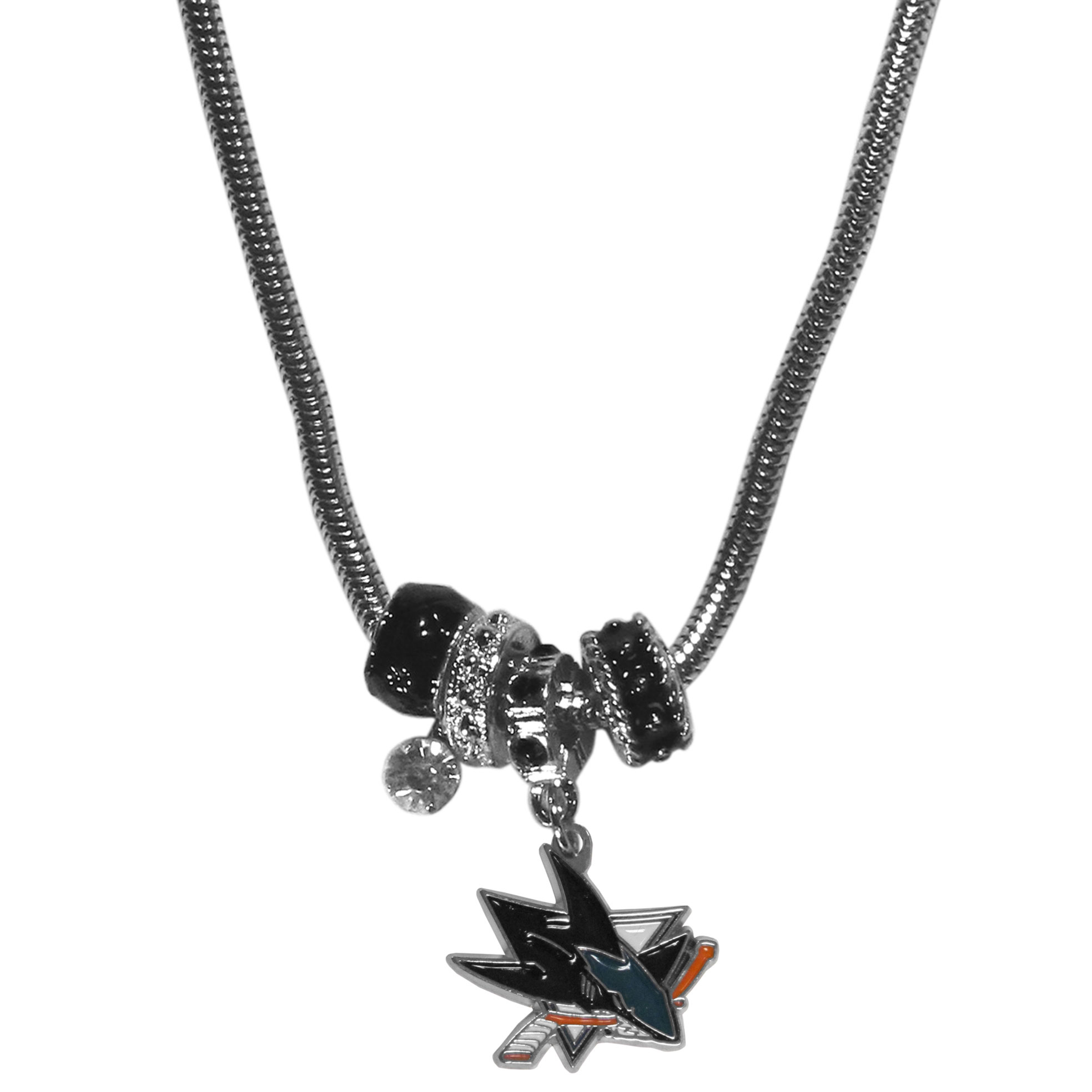 San Jose Sharks Euro Bead Necklace - We have combined the wildly popular Euro style beads with your favorite team to create our San Jose Sharks euro bead necklace. The 18 inch snake chain features 4 Euro beads with enameled San Jose Sharks colors and rhinestone accents with a high polish, nickel free charm and rhinestone charm. Perfect way to show off your San Jose Sharks pride.