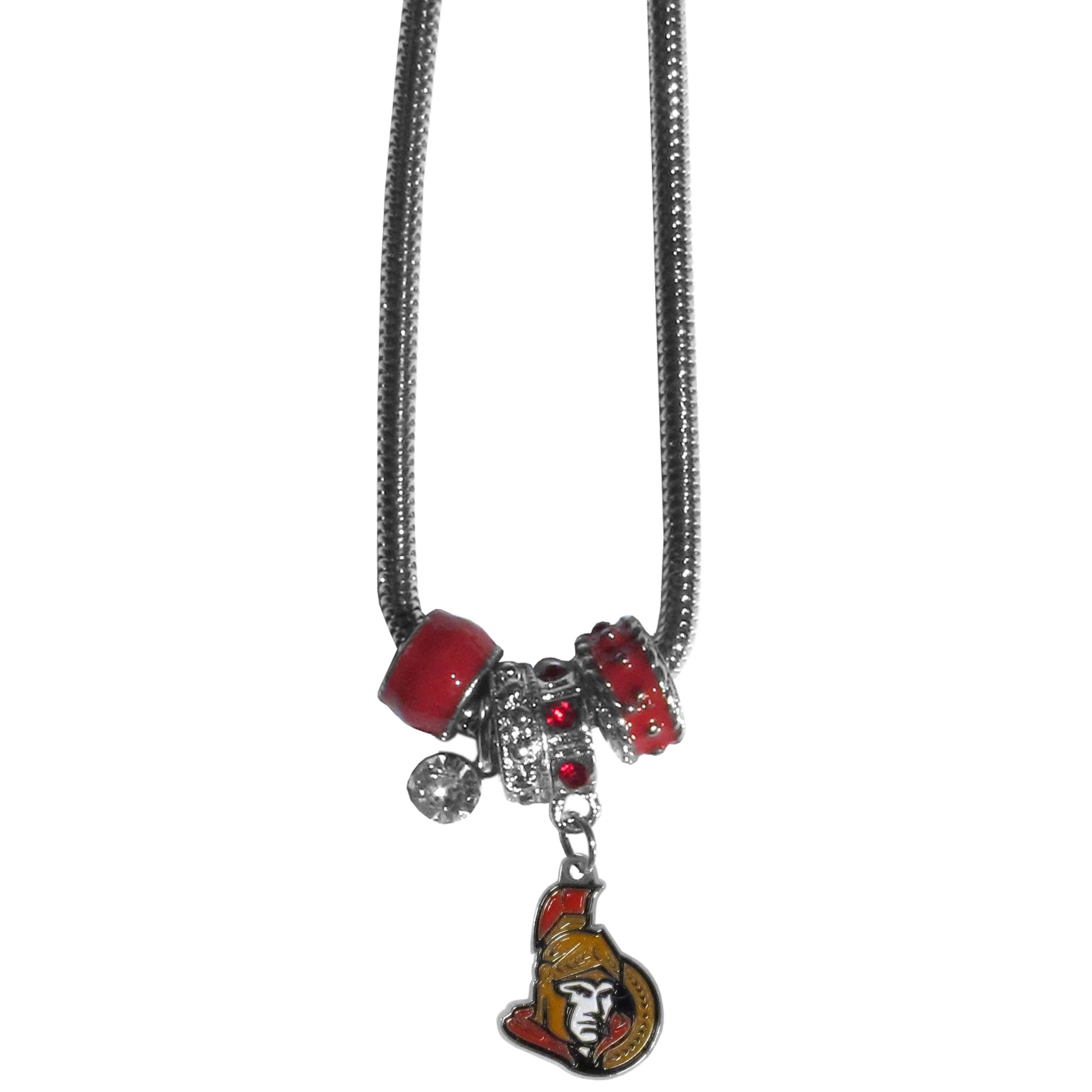 Ottawa Senators Euro Bead Necklace - We have combined the wildly popular Euro style beads with your favorite team to create our Ottawa Senators bead necklace. The 18 inch snake chain features 4 Euro beads with enameled Ottawa Senators colors and rhinestone accents with a high polish, nickel free charm and rhinestone charm. Perfect way to show off your Ottawa Senators pride.