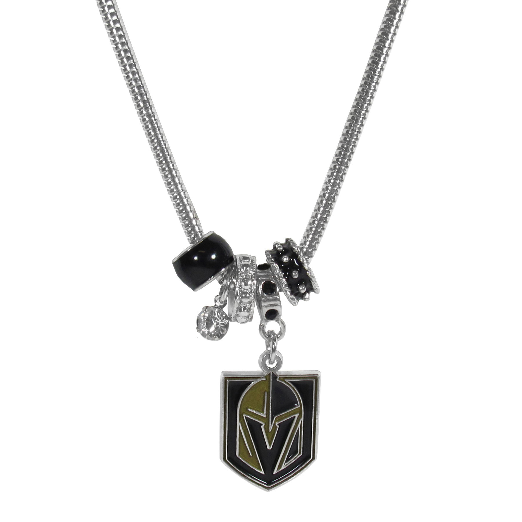 Las Vegas Golden Knights® Euro Bead Necklace - We have combined the wildly popular Euro style beads with your favorite team to create our Las Vegas Golden Knights® bead necklace. The 18 inch snake chain features 4 Euro beads with enameled team colors and rhinestone accents with a high polish, nickel free charm and rhinestone charm. Perfect way to show off your team pride.