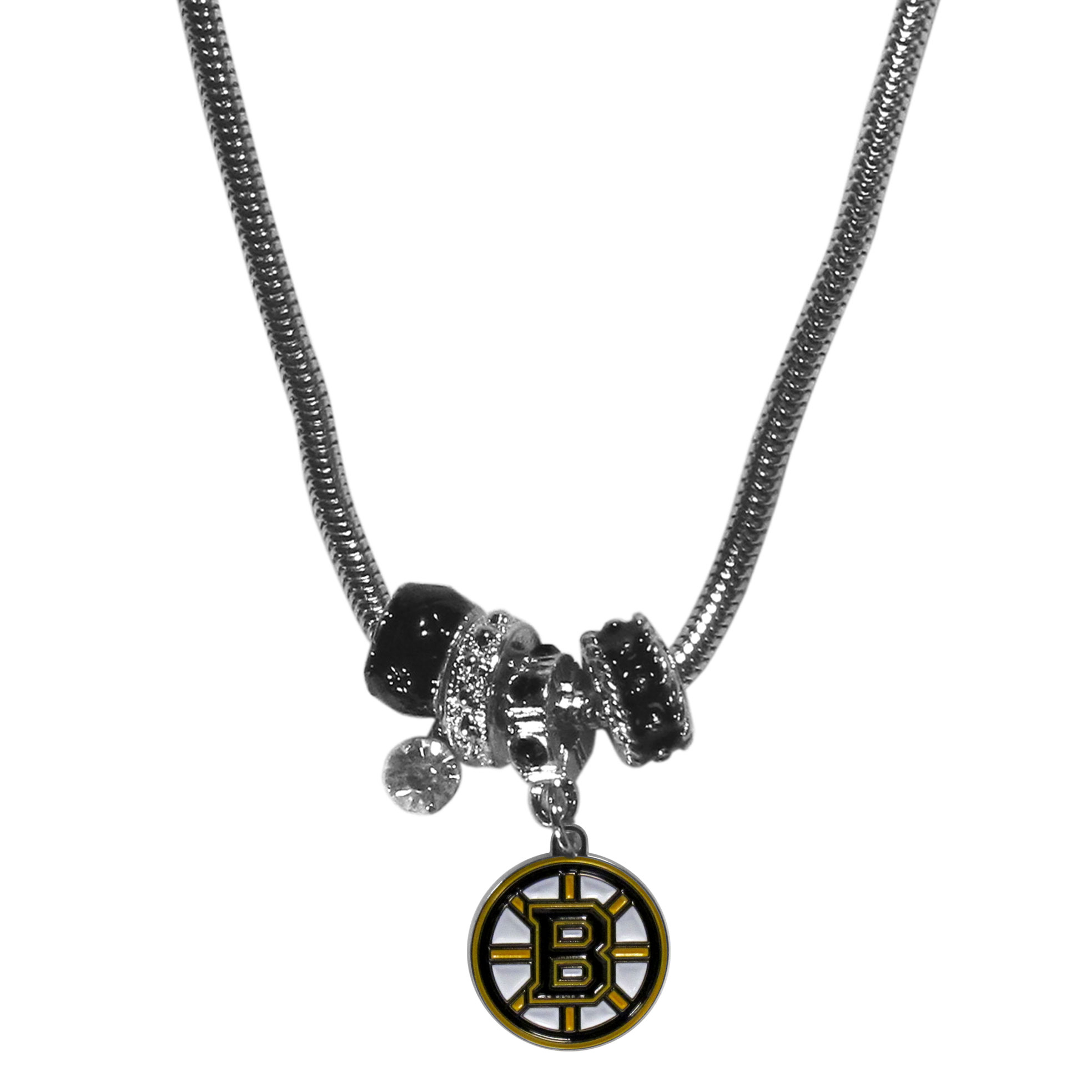 Boston Bruins Euro Bead Necklace - We have combined the wildly popular Euro style beads with your favorite team to create our Boston Bruins euro bead necklace. The 18 inch snake chain features 4 Euro beads with enameled Boston Bruins colors and rhinestone accents with a high polish, nickel free charm and rhinestone charm. Perfect way to show off your Boston Bruins pride.