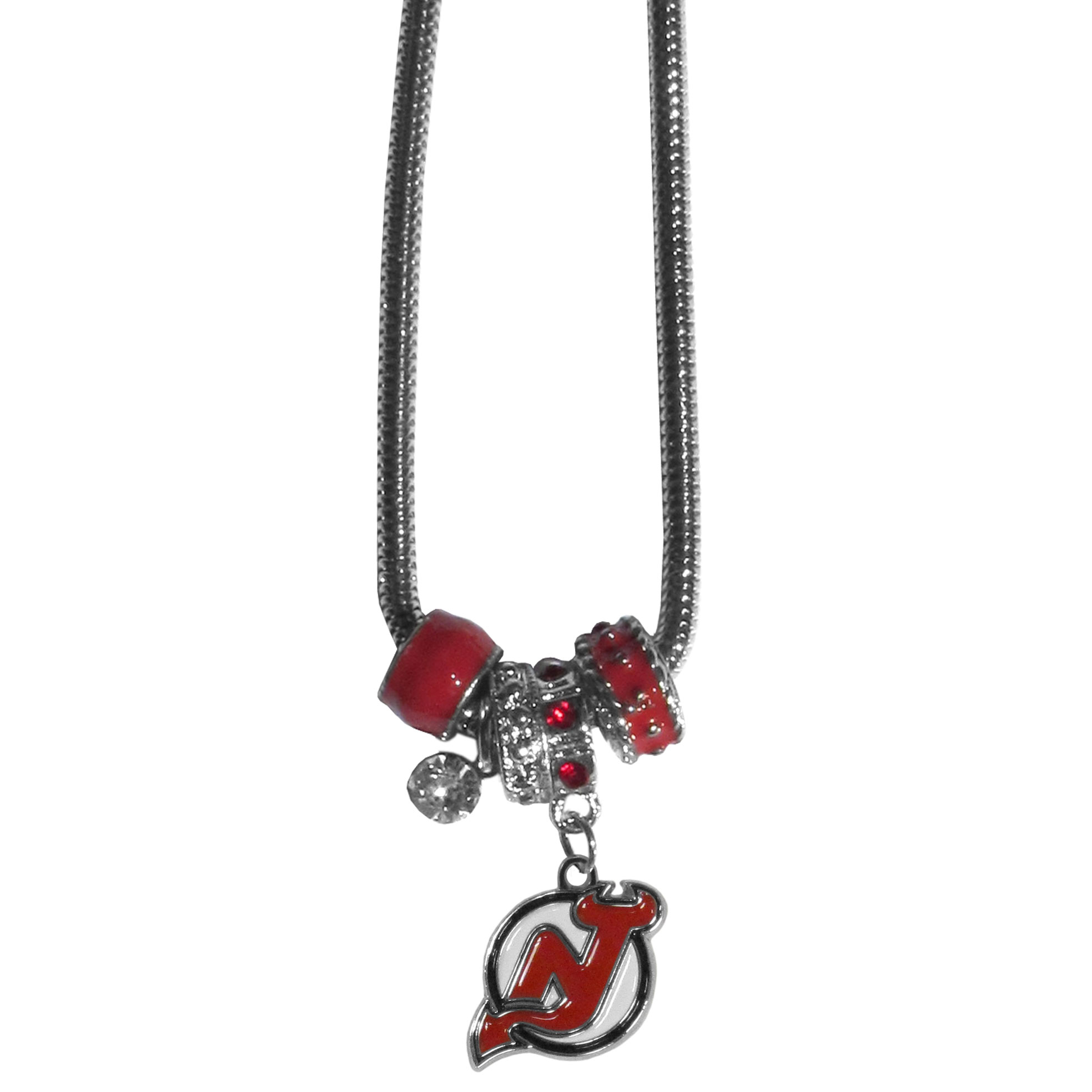 New Jersey Devils Euro Bead Necklace - We have combined the wildly popular Euro style beads with your favorite team to create our New Jersey Devils euro bead necklace. The 18 inch snake chain features 4 Euro beads with enameled New Jersey Devils colors and rhinestone accents with a high polish, nickel free charm and rhinestone charm. Perfect way to show off your New Jersey Devils pride.