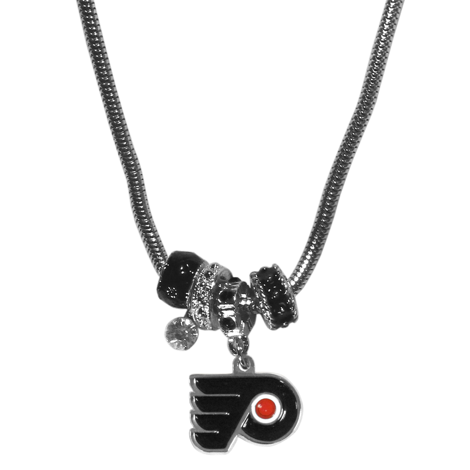 Philadelphia Flyers Euro Bead Necklace - We have combined the wildly popular Euro style beads with your favorite team to create our Philadelphia Flyers bead necklace. The 18 inch snake chain features 4 Euro beads with enameled Philadelphia Flyers colors and rhinestone accents with a high polish, nickel free charm and rhinestone charm. Perfect way to show off your Philadelphia Flyers pride.