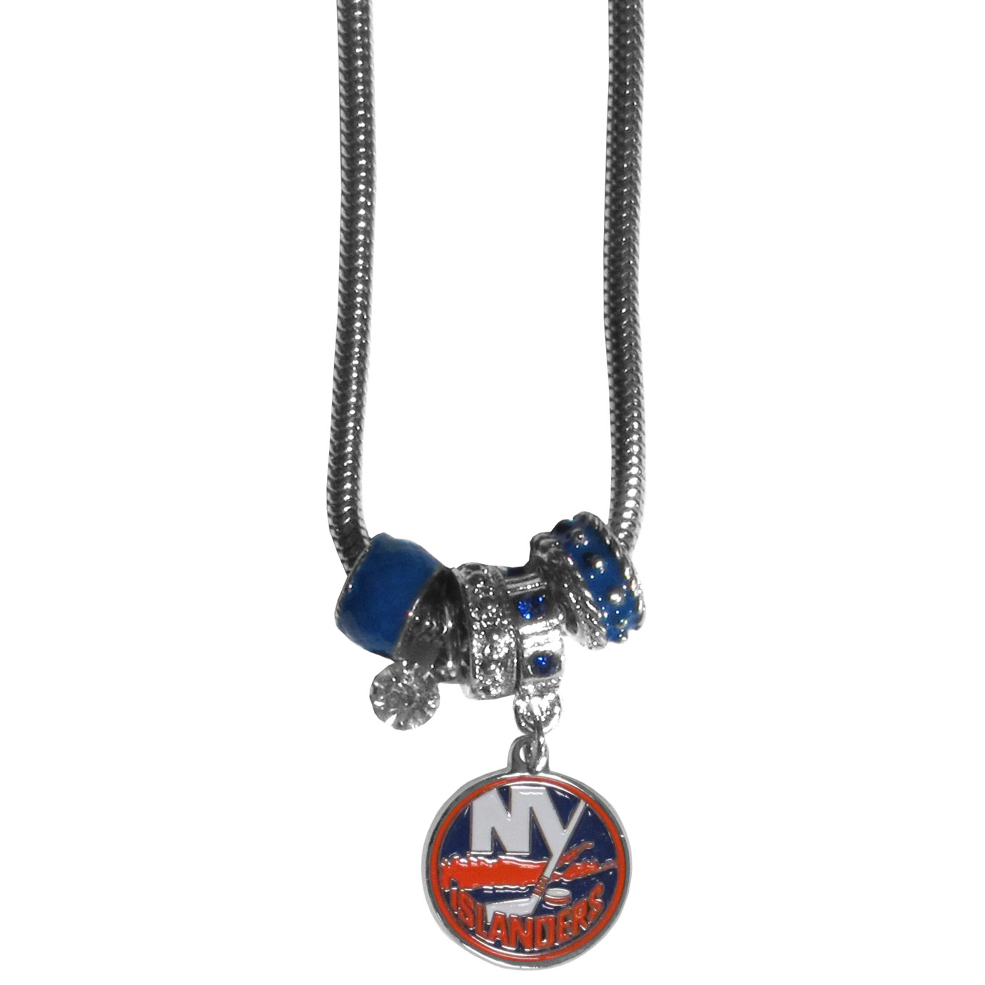 New York Islanders Euro Bead Necklace - We have combined the wildly popular Euro style beads with your favorite team to create our New York Islanders euro bead necklace. The 18 inch snake chain features 4 Euro beads with enameled New York Islanders colors and rhinestone accents with a high polish, nickel free charm and rhinestone charm. Perfect way to show off your New York Islanders pride.