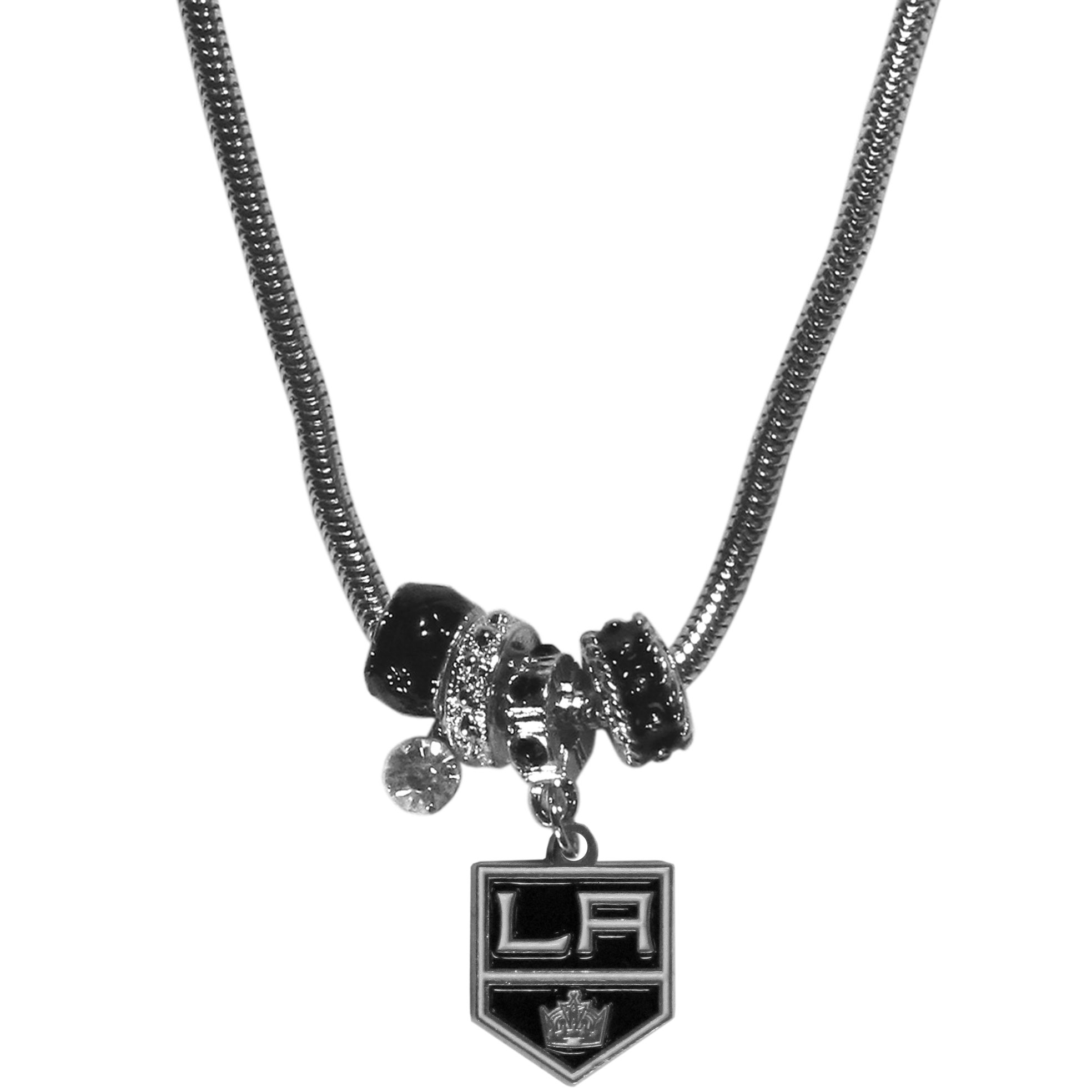 Los Angeles Kings Euro Bead Necklace - We have combined the wildly popular Euro style beads with your favorite team to create our Los Angeles Kings bead necklace. The 18 inch snake chain features 4 Euro beads with enameled Los Angeles Kings colors and rhinestone accents with a high polish, nickel free charm and rhinestone charm. Perfect way to show off your Los Angeles Kings pride.