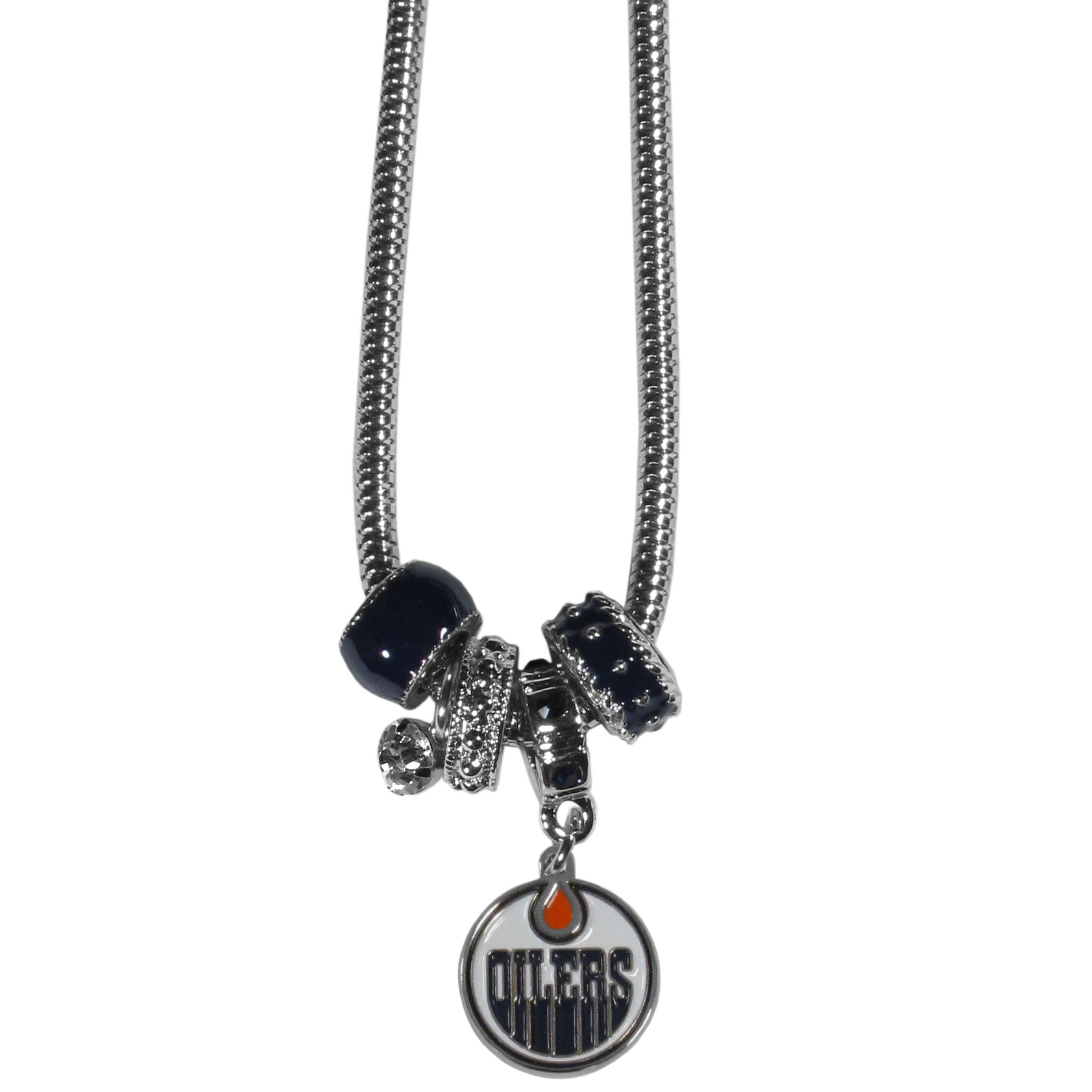 Edmonton Oilers Euro Bead Necklace - We have combined the wildly popular Euro style beads with your favorite team to create our Edmonton Oilers bead necklace. The 18 inch snake chain features 4 Euro beads with enameled Edmonton Oilers colors and rhinestone accents with a high polish, nickel free charm and rhinestone charm. Perfect way to show off your Edmonton Oilers pride.