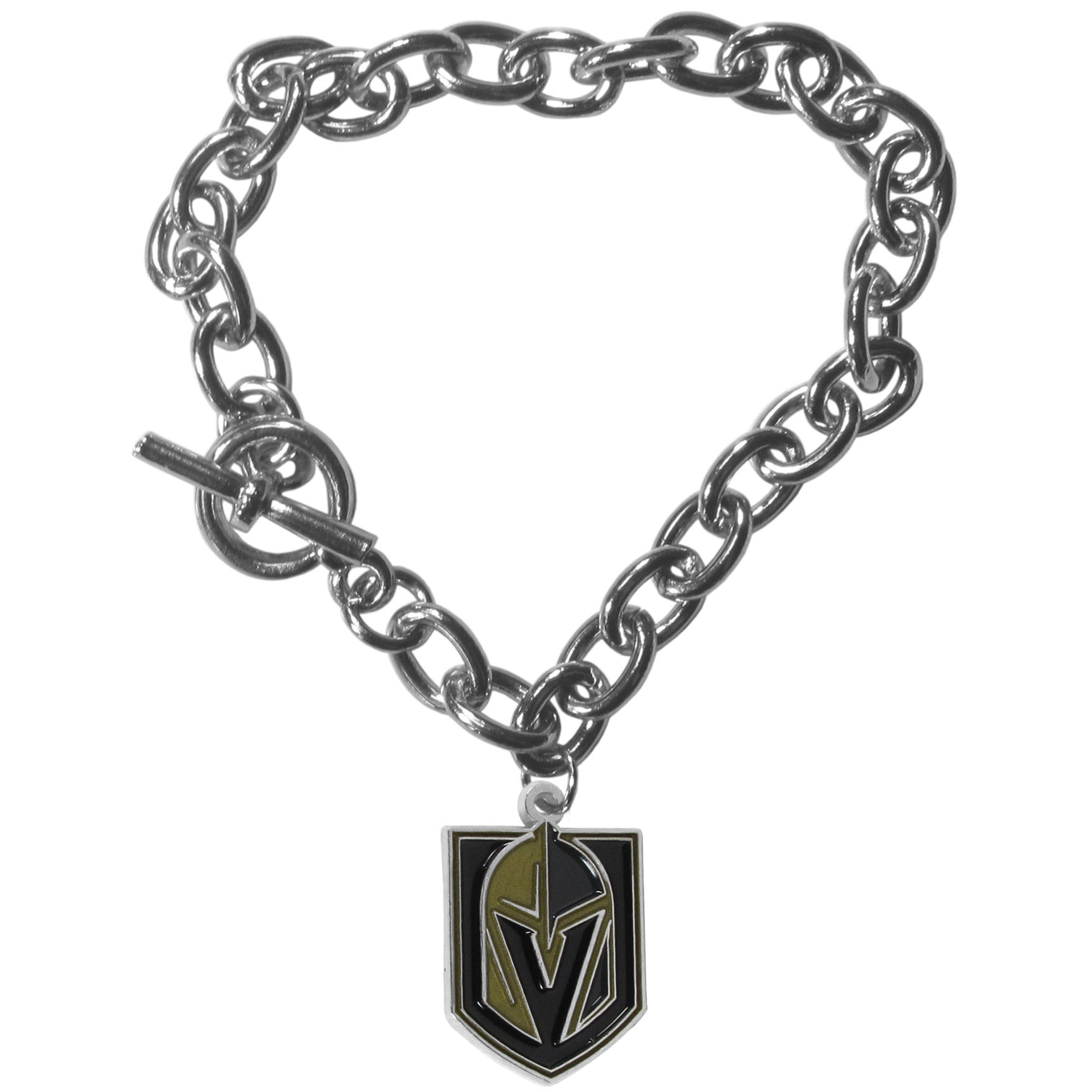 Las Vegas Golden Knights® Charm Chain Bracelet - Our classic single charm bracelet is a great way to show off your team pride! The 7.5 inch large link chain features a high polish Las Vegas Golden Knights® charm and features a toggle clasp which makes it super easy to take on and off.
