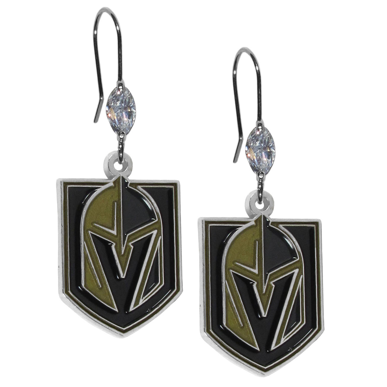 Las Vegas Golden Knights® Crystal Dangle Earrings - Our crystal dangle earrings are the perfect accessory for your game day outfit! The earrings are approximately 1.5 inches long and feature an iridescent crystal bead and nickel free chrome Las Vegas Golden Knights® charm on nickel free, hypoallergenic fishhook posts.