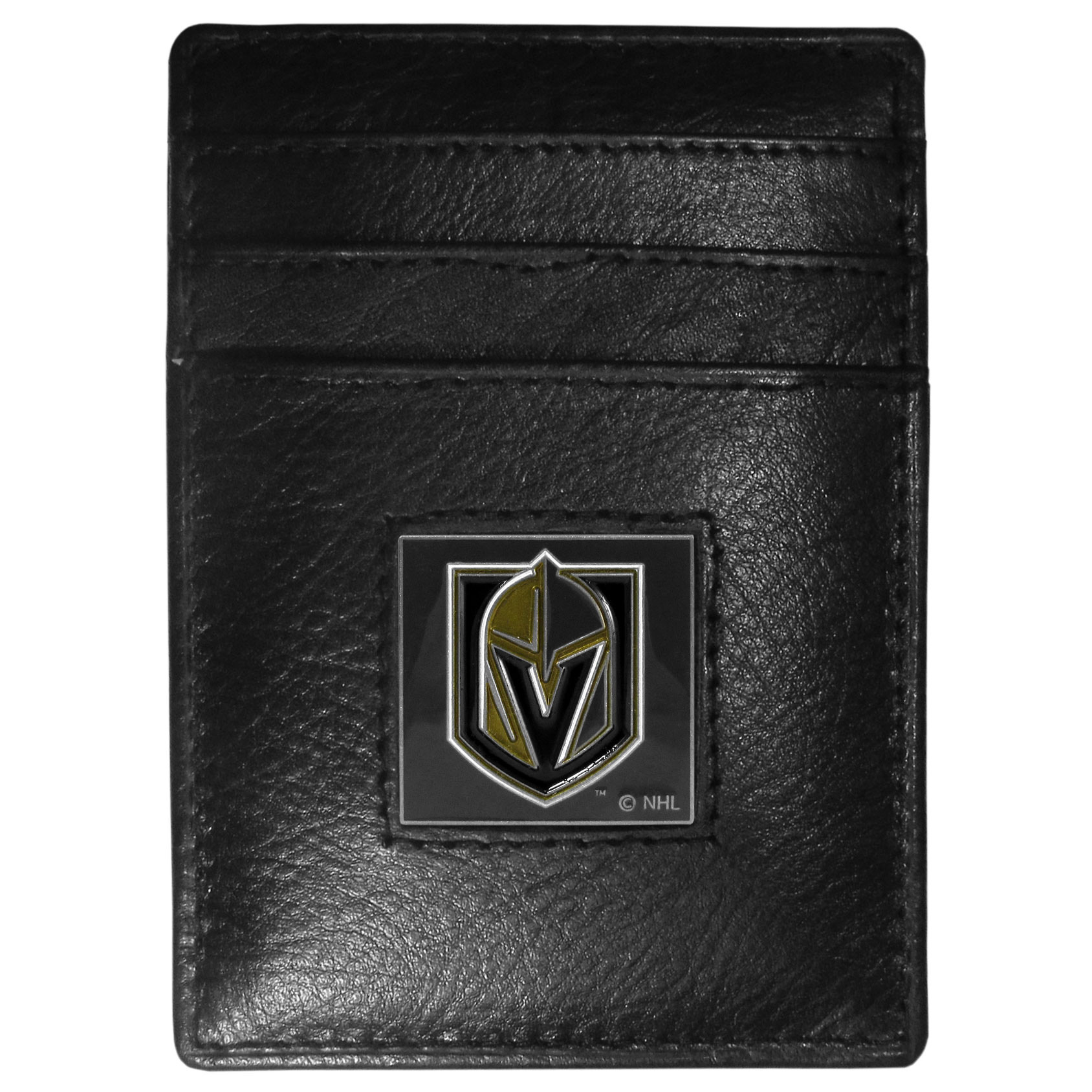 Las Vegas Golden Knights® Leather Money Clip/Cardholder Packaged in Gift Box - Our officially licensed Money Clip/Card Holders won't make you choose between paper or plastic because they stow both easily. Features our sculpted and enameled Las Vegas Golden Knights® emblem on the front of the wallet.