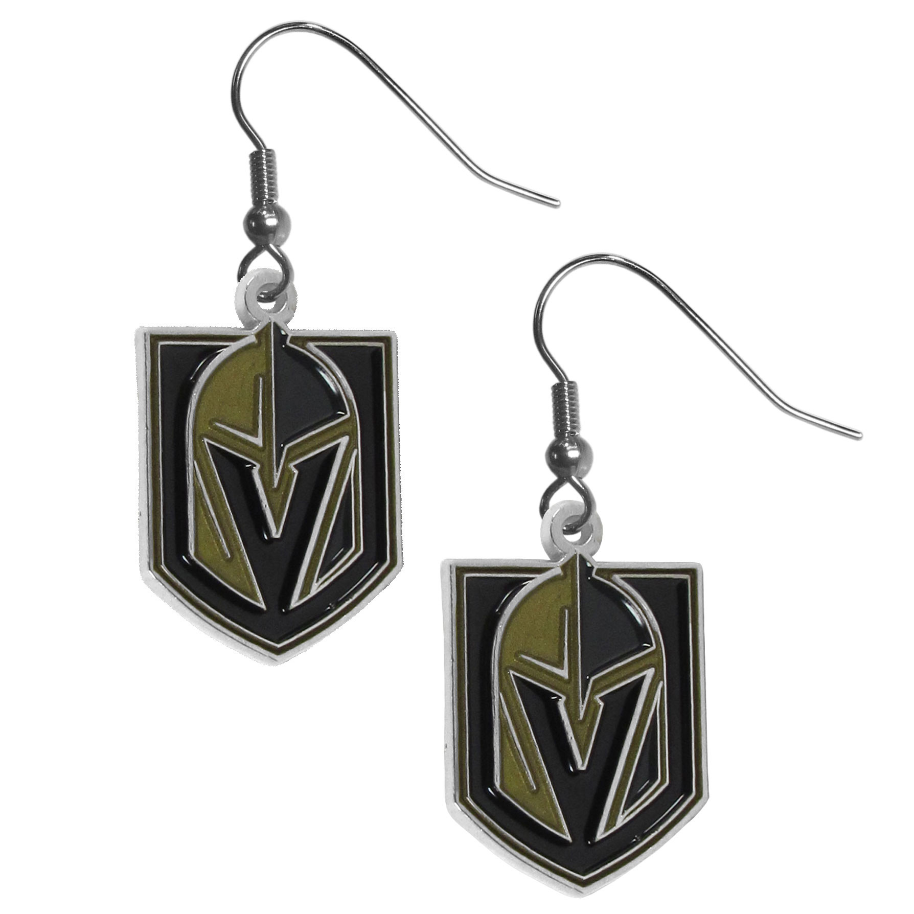 Las Vegas Golden Knights® Chrome Dangle Earrings - These on fleek Las Vegas Golden Knights® Dangle earrings are a lightweight and casual fashion earring with a striking team charm. These trendy understated earrings feature a carved and detailed enameled charm. Sporty meets fashion-forward with these spirited earrings that would make the perfect gift for any female fan. These trendy earrings are the perfect for every day but especially fun to glam up on game-day.