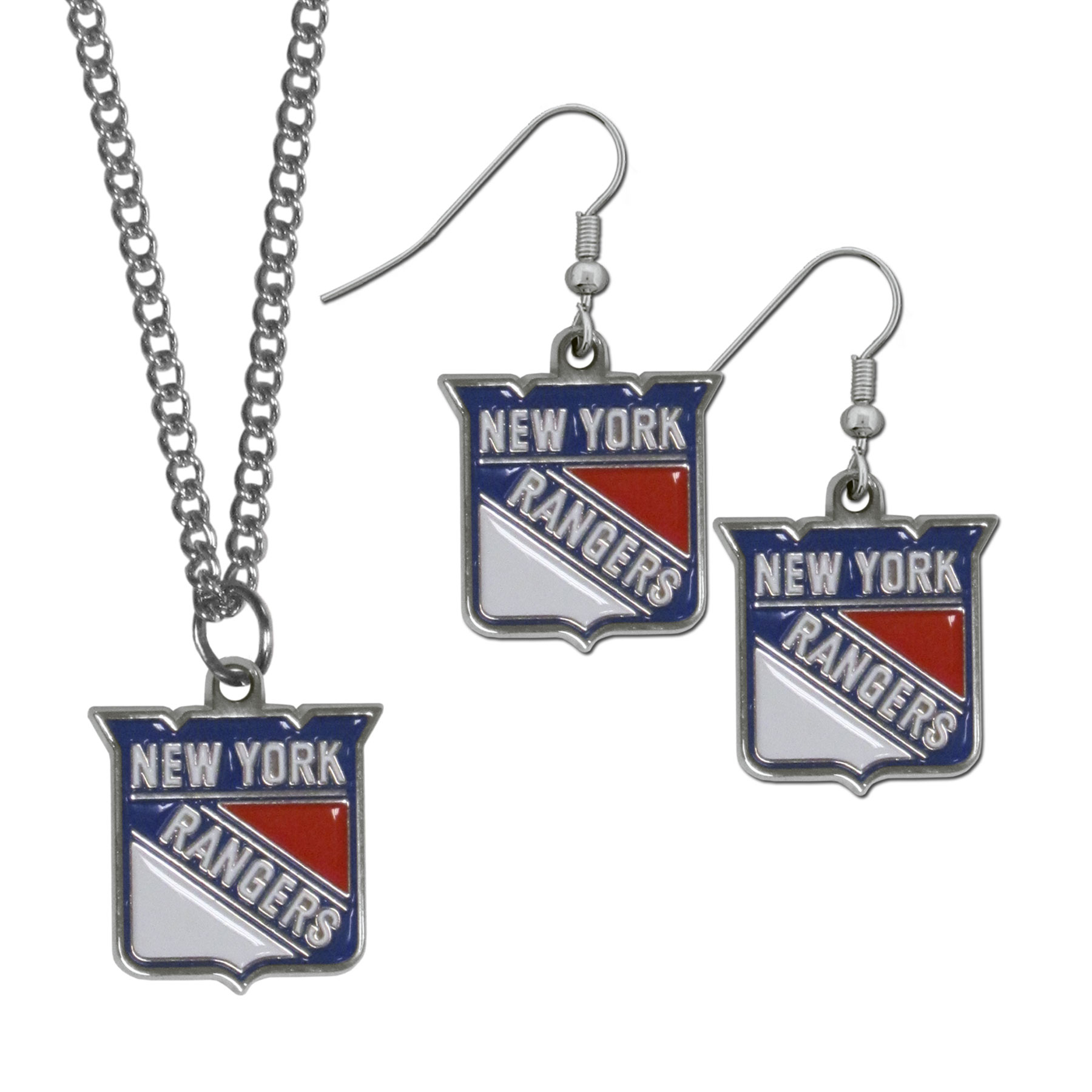 New York Rangers® Dangle Earrings and Chain Necklace Set - This classic jewelry set contains are most popular New York Rangers® dangle earrings and 22 inch chain necklace. The trendy, dangle earrings are lightweight and feature a fully cast metal team charm with enameled team colors. The matching necklace completes this fashion forward combo and is a spirited set that is perfect for game day but nice enough for everyday.