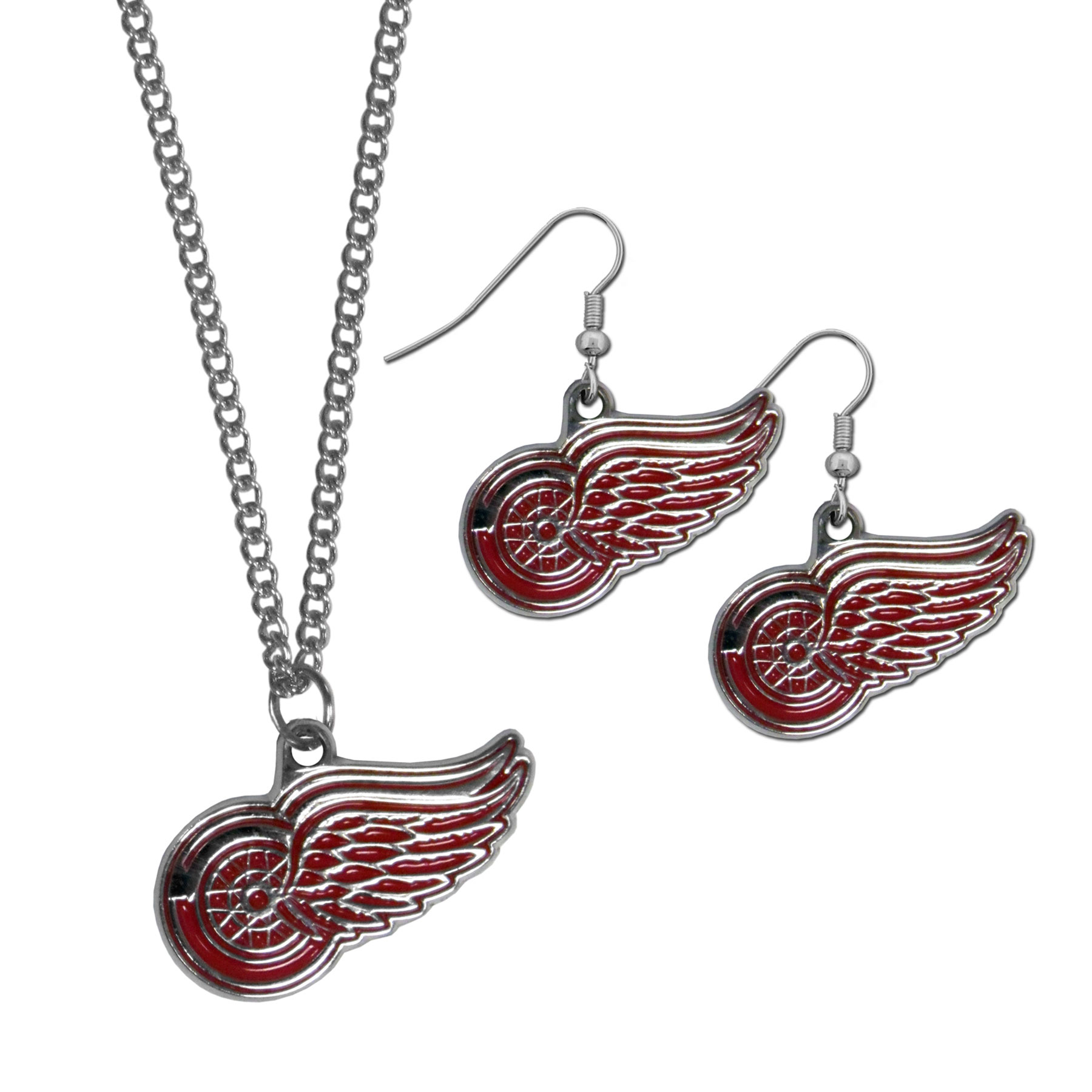 Detroit Red Wings® Dangle Earrings and Chain Necklace Set - This classic jewelry set contains are most popular Detroit Red Wings® dangle earrings and 22 inch chain necklace. The trendy, dangle earrings are lightweight and feature a fully cast metal team charm with enameled team colors. The matching necklace completes this fashion forward combo and is a spirited set that is perfect for game day but nice enough for everyday.