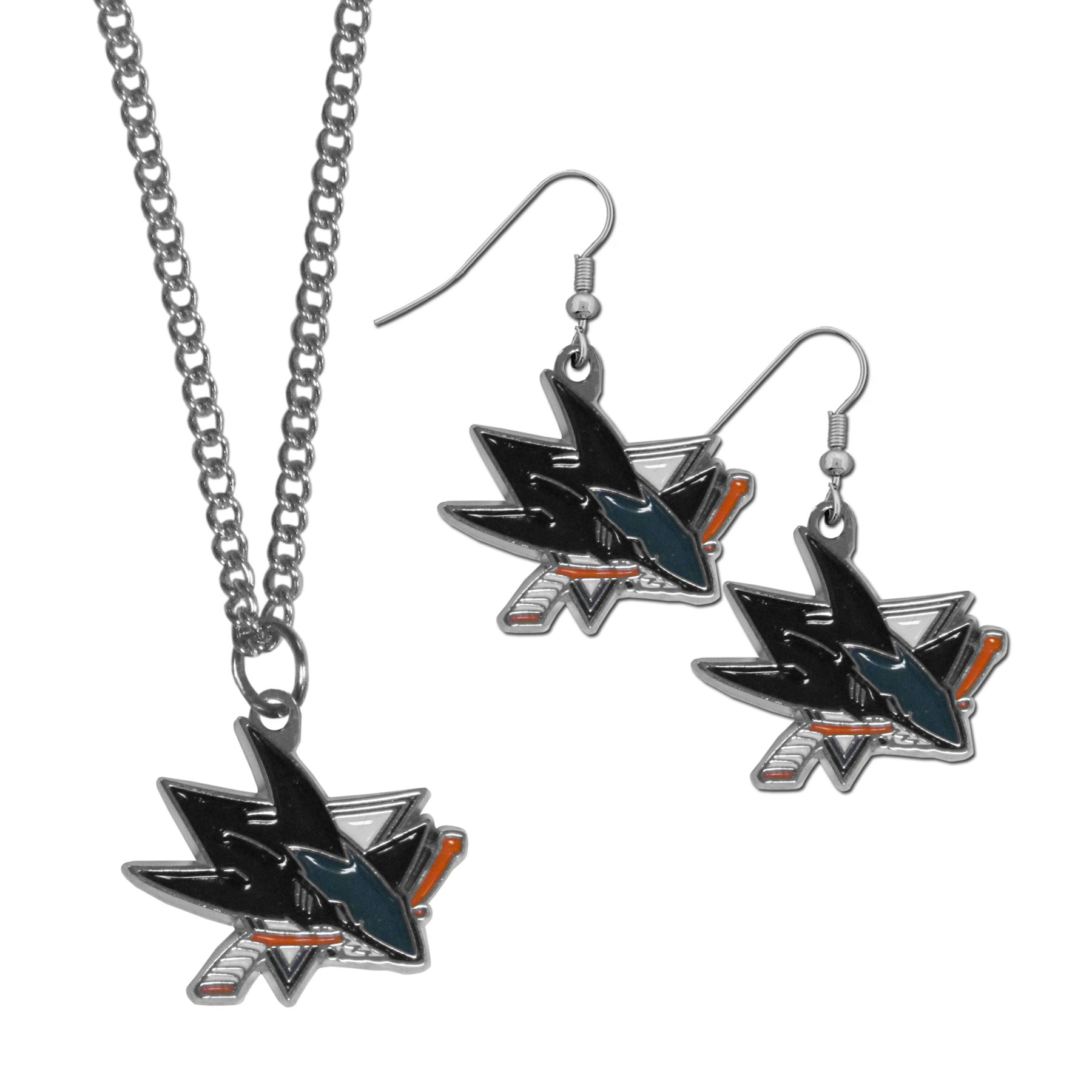 San Jose Sharks® Dangle Earrings and Chain Necklace Set - This classic jewelry set contains are most popular San Jose Sharks® dangle earrings and 22 inch chain necklace. The trendy, dangle earrings are lightweight and feature a fully cast metal team charm with enameled team colors. The matching necklace completes this fashion forward combo and is a spirited set that is perfect for game day but nice enough for everyday.