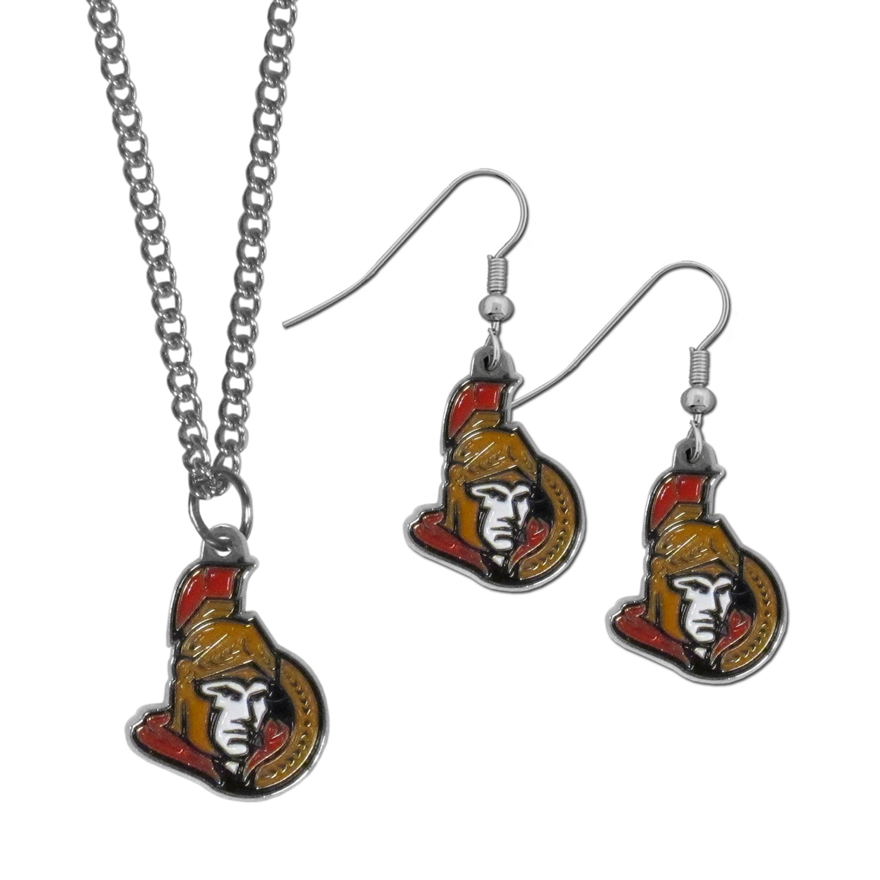Ottawa Senators® Dangle Earrings and Chain Necklace Set - This classic jewelry set contains are most popular Ottawa Senators® dangle earrings and 22 inch chain necklace. The trendy, dangle earrings are lightweight and feature a fully cast metal team charm with enameled team colors. The matching necklace completes this fashion forward combo and is a spirited set that is perfect for game day but nice enough for everyday.