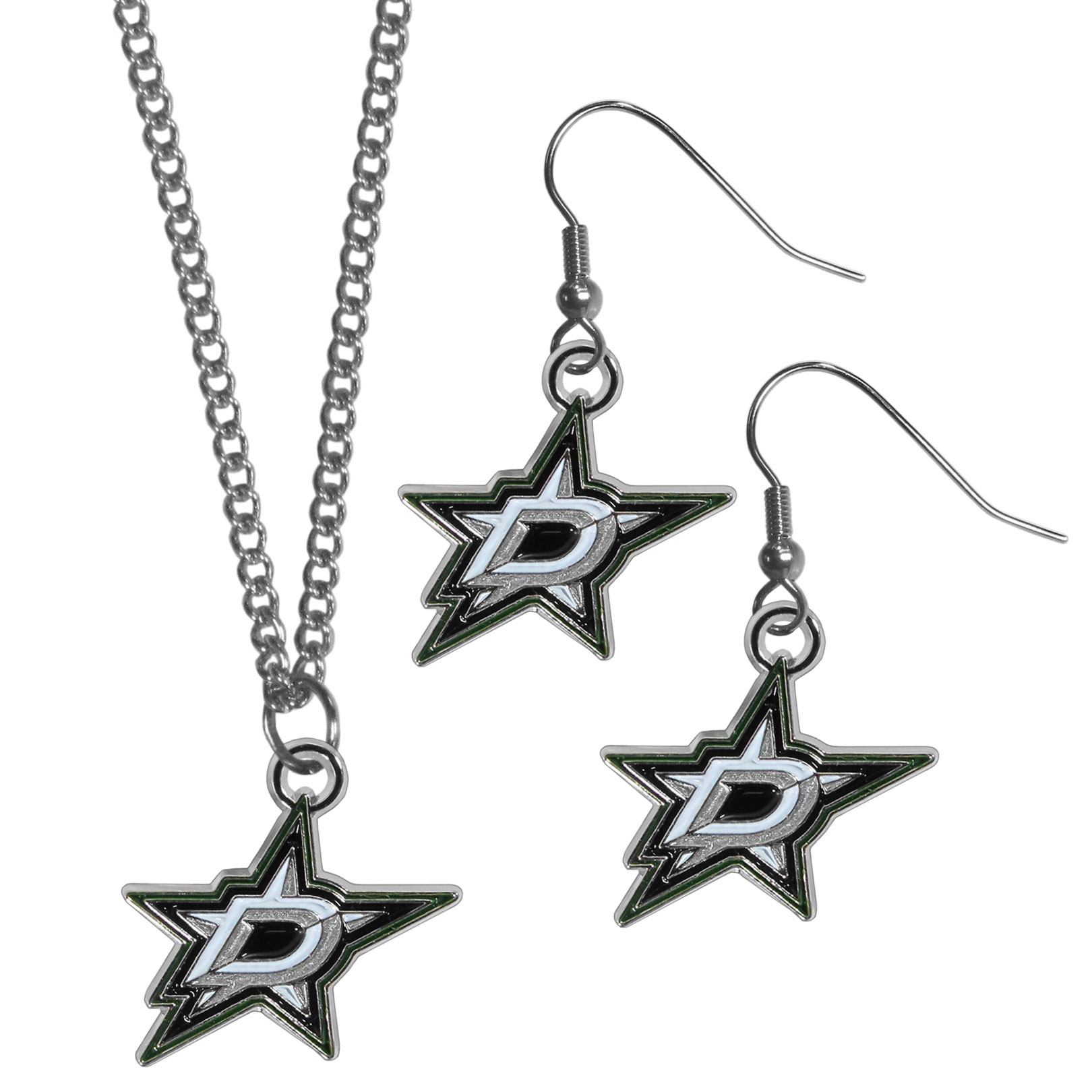 Dallas Stars™ Dangle Earrings and Chain Necklace Set - This classic jewelry set contains are most popular Dallas Stars™ dangle earrings and 22 inch chain necklace. The trendy, dangle earrings are lightweight and feature a fully cast metal team charm with enameled team colors. The matching necklace completes this fashion forward combo and is a spirited set that is perfect for game day but nice enough for everyday.