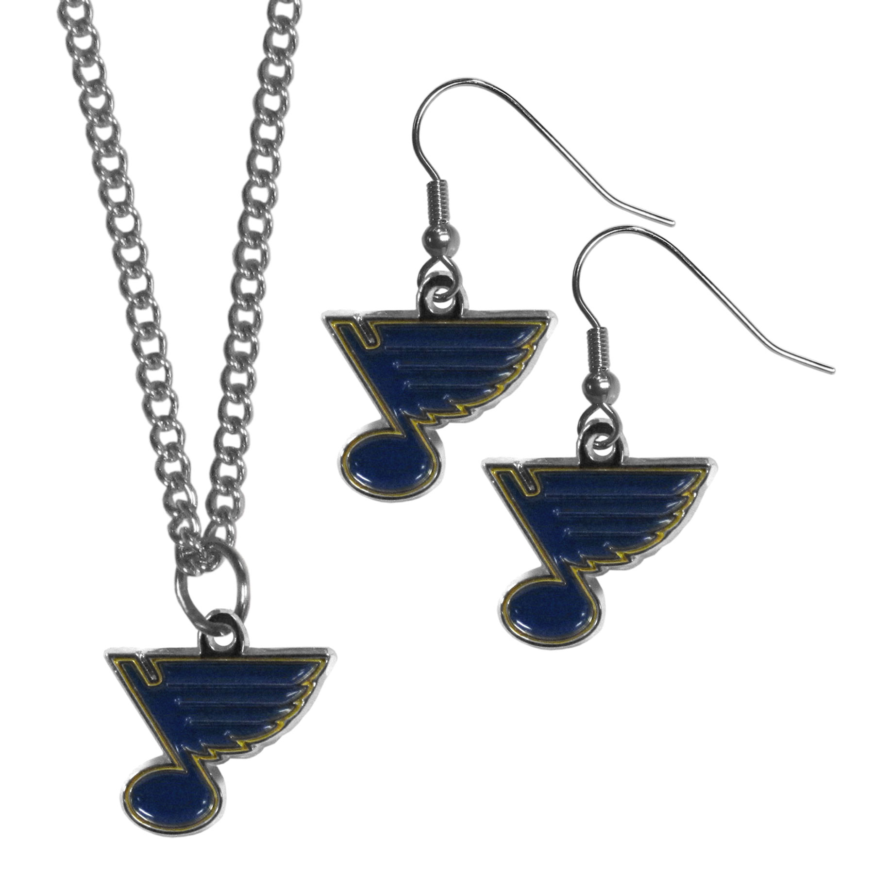St. Louis Blues® Dangle Earrings and Chain Necklace Set - This classic jewelry set contains are most popular St. Louis Blues® dangle earrings and 22 inch chain necklace. The trendy, dangle earrings are lightweight and feature a fully cast metal team charm with enameled team colors. The matching necklace completes this fashion forward combo and is a spirited set that is perfect for game day but nice enough for everyday.