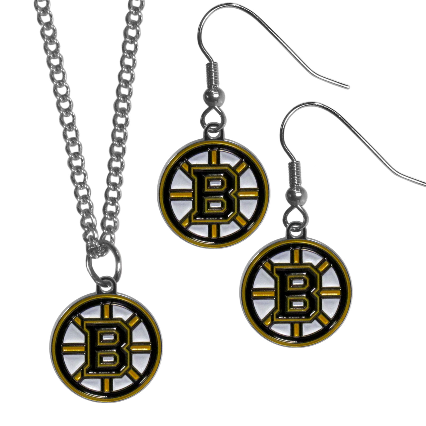 Boston Bruins® Dangle Earrings and Chain Necklace Set - This classic jewelry set contains are most popular Boston Bruins® dangle earrings and 22 inch chain necklace. The trendy, dangle earrings are lightweight and feature a fully cast metal team charm with enameled team colors. The matching necklace completes this fashion forward combo and is a spirited set that is perfect for game day but nice enough for everyday.