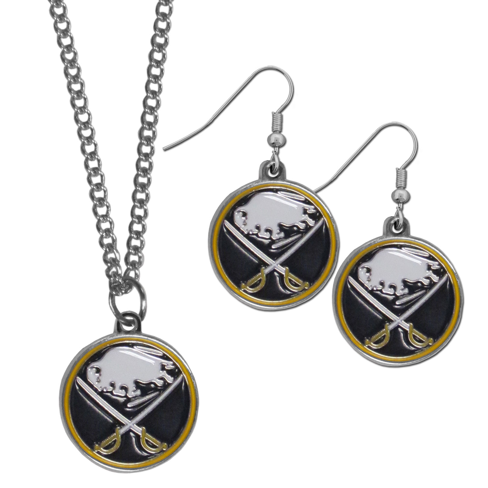 Buffalo Sabres® Dangle Earrings and Chain Necklace Set - This classic jewelry set contains are most popular Buffalo Sabres® dangle earrings and 22 inch chain necklace. The trendy, dangle earrings are lightweight and feature a fully cast metal team charm with enameled team colors. The matching necklace completes this fashion forward combo and is a spirited set that is perfect for game day but nice enough for everyday.