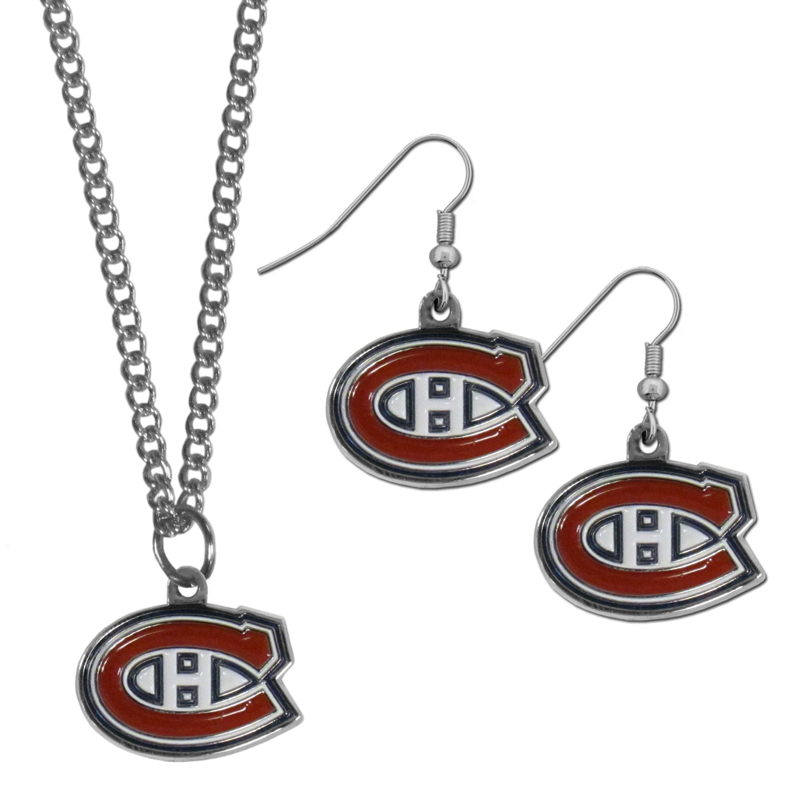 Montreal Canadiens® Dangle Earrings and Chain Necklace Set - This classic jewelry set contains are most popular Montreal Canadiens® dangle earrings and 22 inch chain necklace. The trendy, dangle earrings are lightweight and feature a fully cast metal team charm with enameled team colors. The matching necklace completes this fashion forward combo and is a spirited set that is perfect for game day but nice enough for everyday.