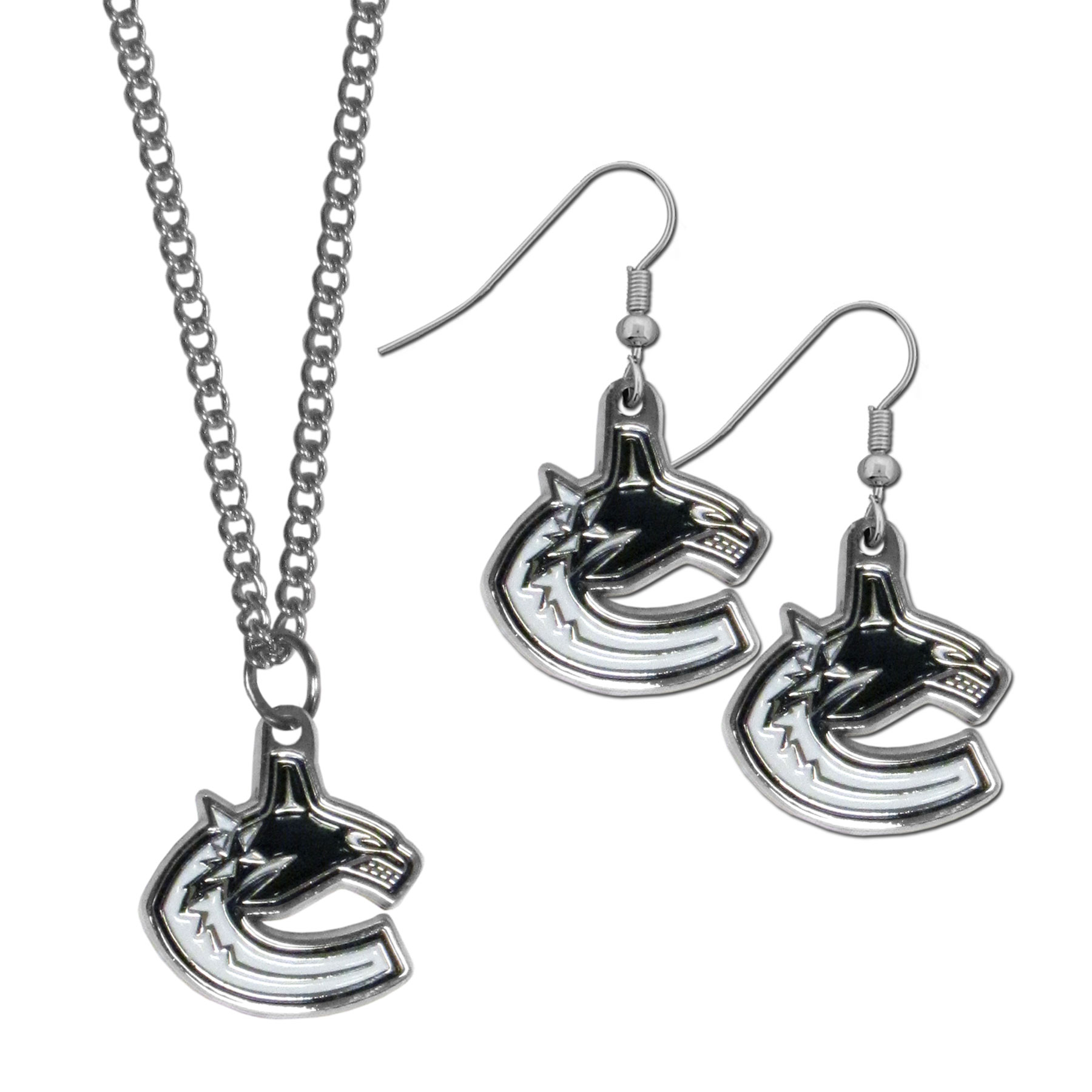 Vancouver Canucks® Dangle Earrings and Chain Necklace Set - This classic jewelry set contains are most popular Vancouver Canucks® dangle earrings and 22 inch chain necklace. The trendy, dangle earrings are lightweight and feature a fully cast metal team charm with enameled team colors. The matching necklace completes this fashion forward combo and is a spirited set that is perfect for game day but nice enough for everyday.
