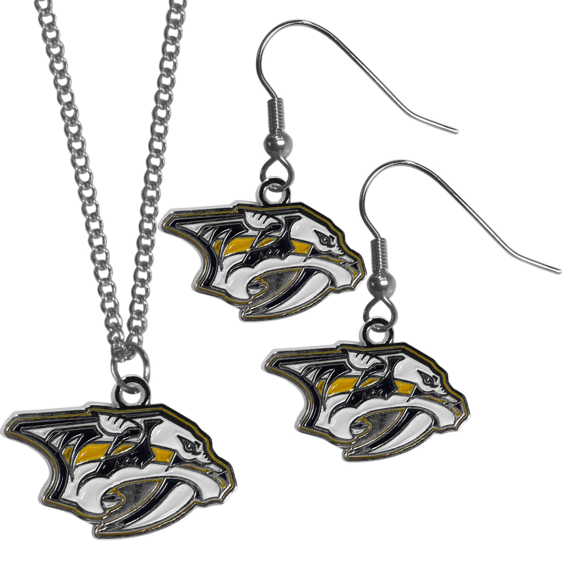 Nashville Predators® Dangle Earrings and Chain Necklace Set - This classic jewelry set contains are most popular Nashville Predators® dangle earrings and 22 inch chain necklace. The trendy, dangle earrings are lightweight and feature a fully cast metal team charm with enameled team colors. The matching necklace completes this fashion forward combo and is a spirited set that is perfect for game day but nice enough for everyday.