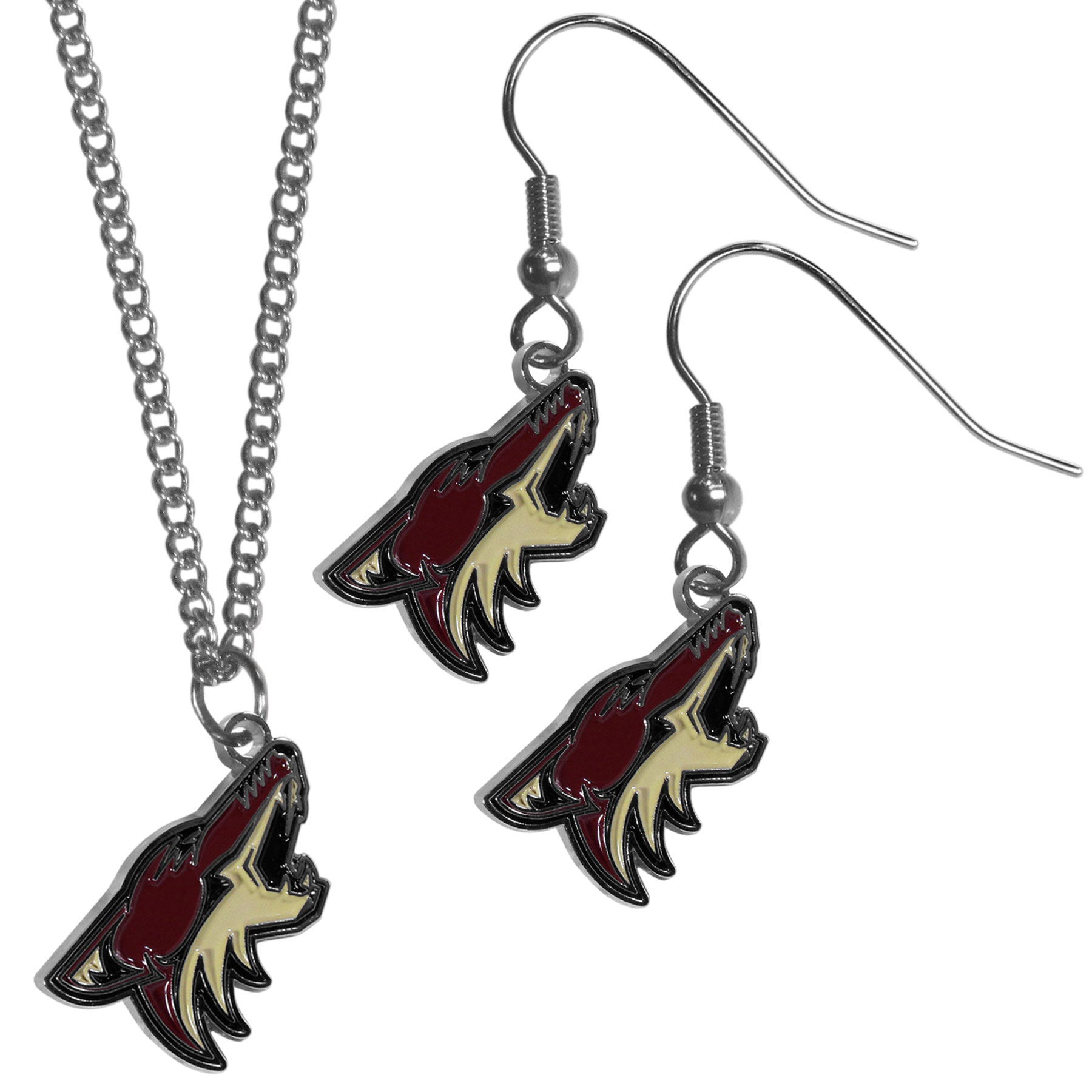 Arizona Coyotes® Dangle Earrings and Chain Necklace Set - This classic jewelry set contains are most popular Arizona Coyotes® dangle earrings and 22 inch chain necklace. The trendy, dangle earrings are lightweight and feature a fully cast metal team charm with enameled team colors. The matching necklace completes this fashion forward combo and is a spirited set that is perfect for game day but nice enough for everyday.