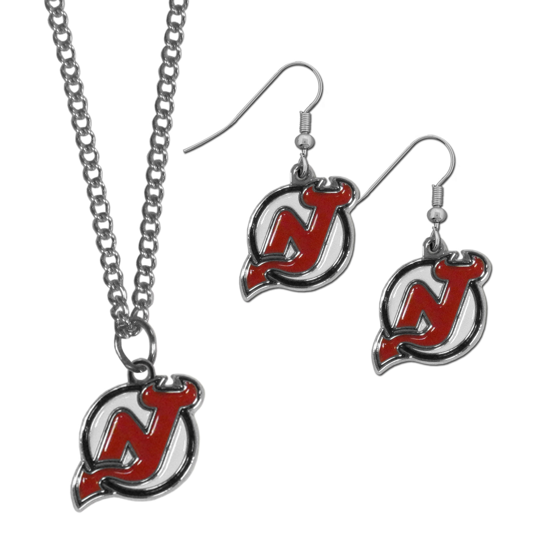New Jersey Devils® Dangle Earrings and Chain Necklace Set - This classic jewelry set contains are most popular New Jersey Devils® dangle earrings and 22 inch chain necklace. The trendy, dangle earrings are lightweight and feature a fully cast metal team charm with enameled team colors. The matching necklace completes this fashion forward combo and is a spirited set that is perfect for game day but nice enough for everyday.