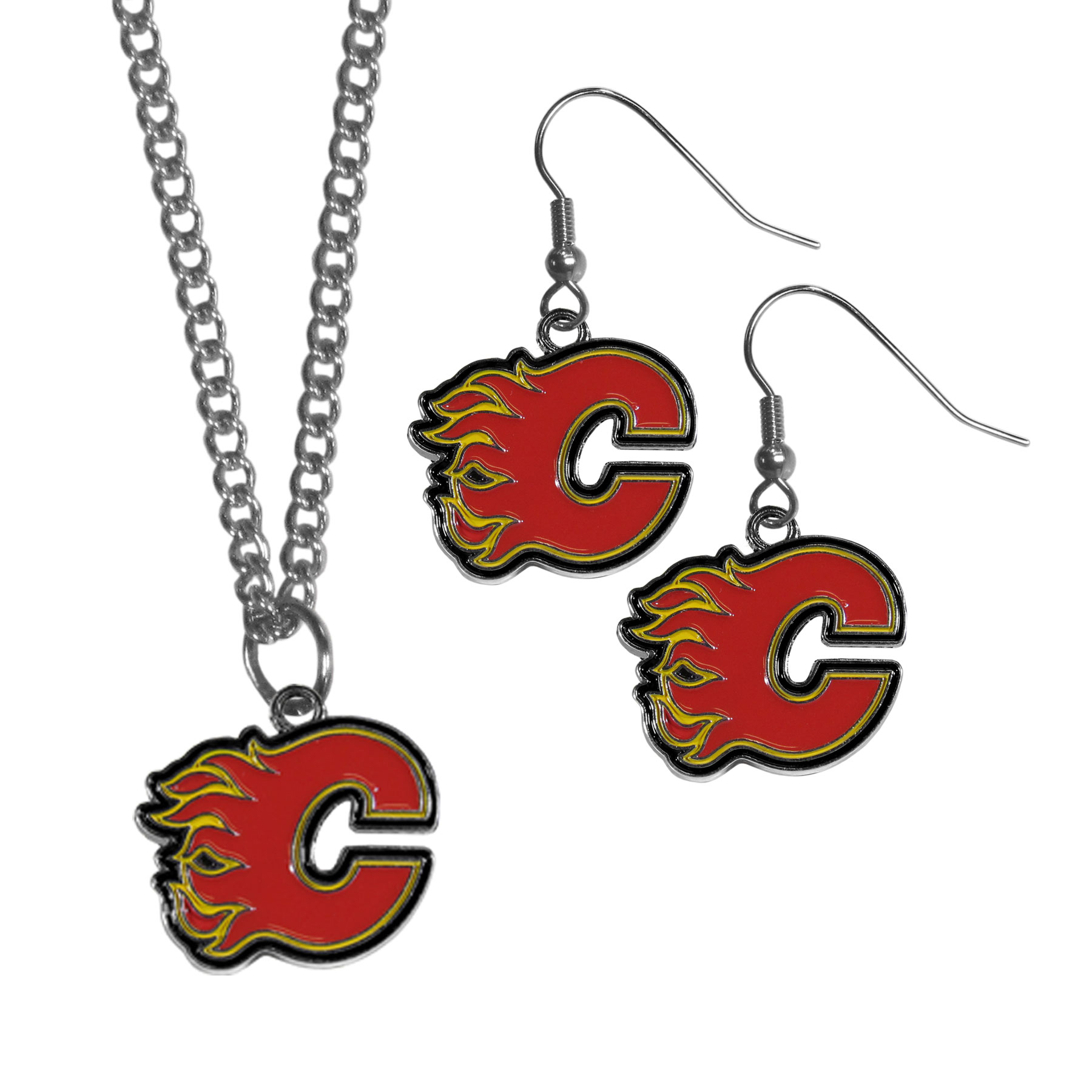 Calgary Flames® Dangle Earrings and Chain Necklace Set - This classic jewelry set contains are most popular Calgary Flames® dangle earrings and 22 inch chain necklace. The trendy, dangle earrings are lightweight and feature a fully cast metal team charm with enameled team colors. The matching necklace completes this fashion forward combo and is a spirited set that is perfect for game day but nice enough for everyday.