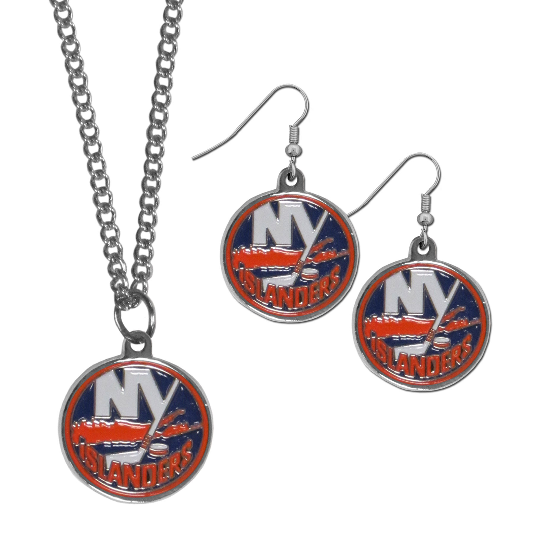 New York Islanders® Dangle Earrings and Chain Necklace Set - This classic jewelry set contains are most popular New York Islanders® dangle earrings and 22 inch chain necklace. The trendy, dangle earrings are lightweight and feature a fully cast metal team charm with enameled team colors. The matching necklace completes this fashion forward combo and is a spirited set that is perfect for game day but nice enough for everyday.