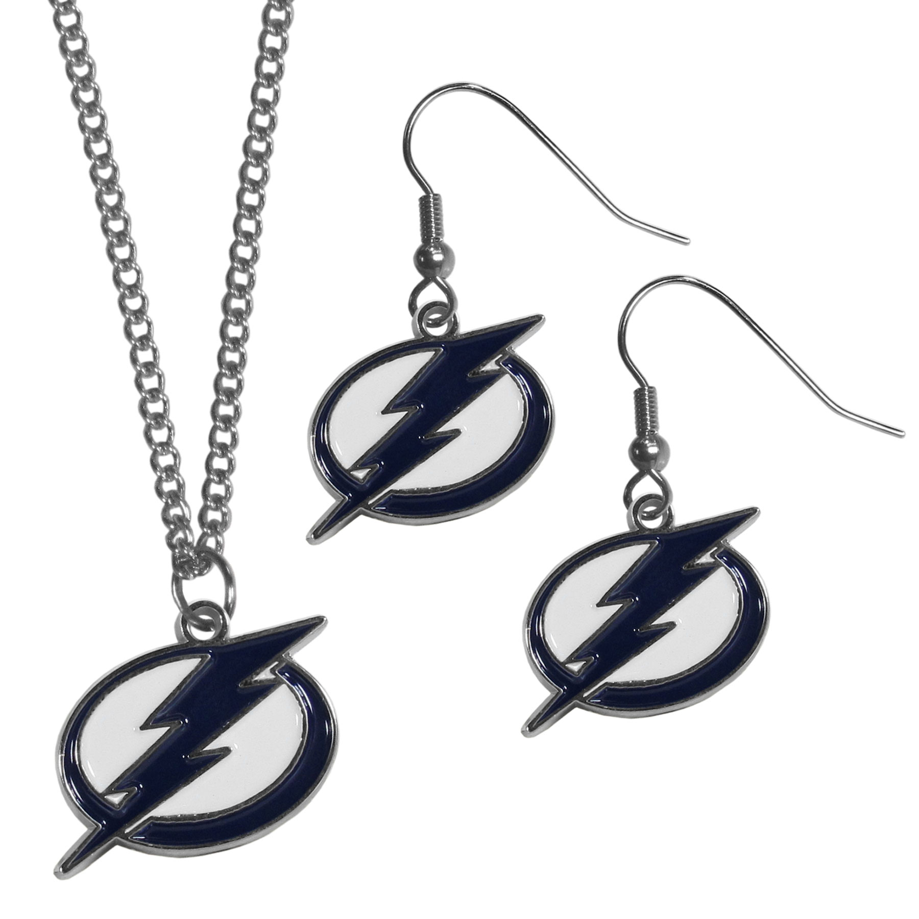 Tampa Bay Lightning® Dangle Earrings and Chain Necklace Set - This classic jewelry set contains are most popular Tampa Bay Lightning® dangle earrings and 22 inch chain necklace. The trendy, dangle earrings are lightweight and feature a fully cast metal team charm with enameled team colors. The matching necklace completes this fashion forward combo and is a spirited set that is perfect for game day but nice enough for everyday.