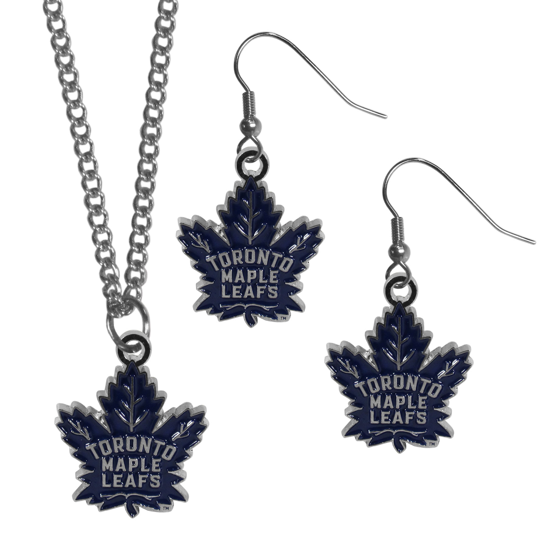 Toronto Maple Leafs® Dangle Earrings and Chain Necklace Set - This classic jewelry set contains are most popular Toronto Maple Leafs® dangle earrings and 22 inch chain necklace. The trendy, dangle earrings are lightweight and feature a fully cast metal team charm with enameled team colors. The matching necklace completes this fashion forward combo and is a spirited set that is perfect for game day but nice enough for everyday.