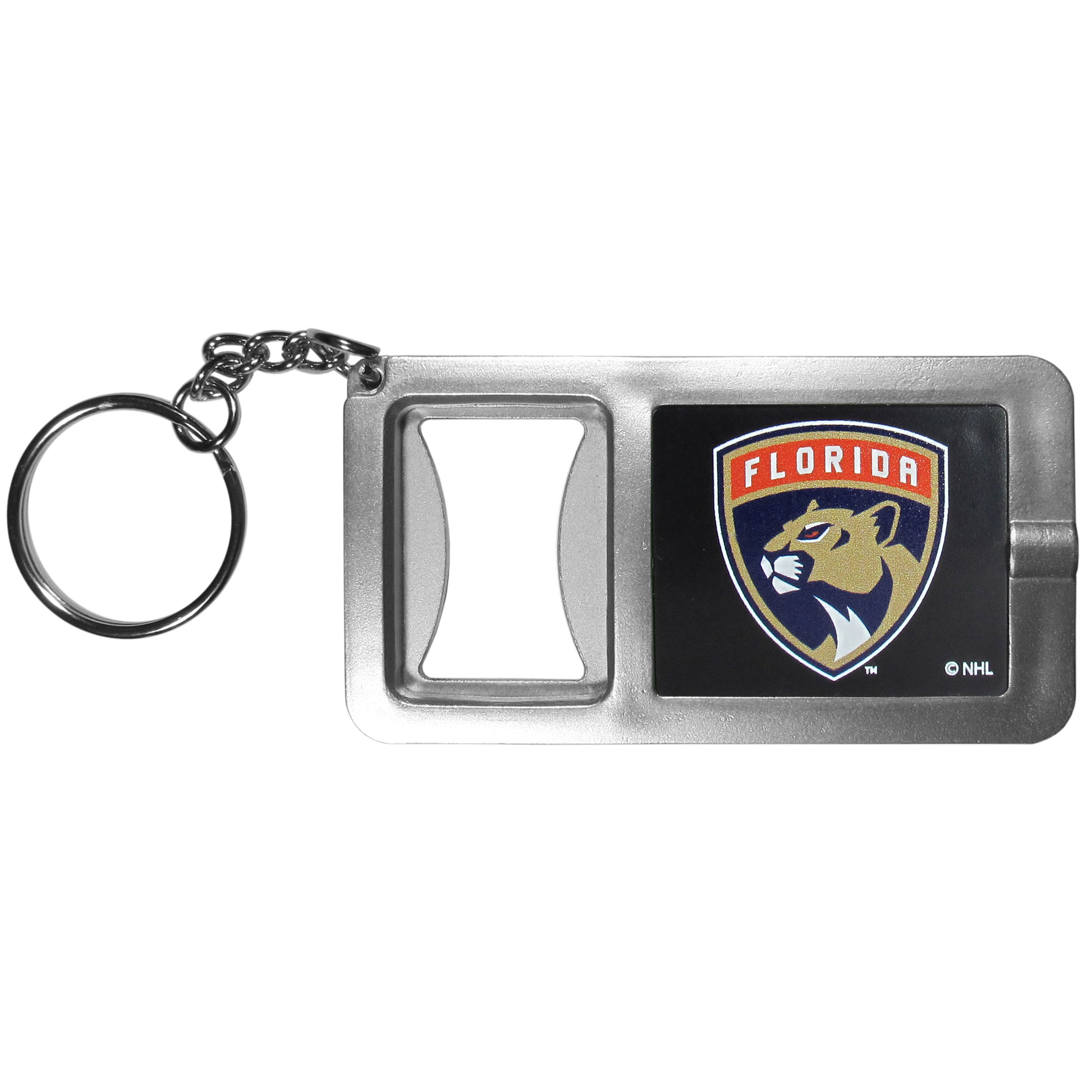 Florida Panthers® Flashlight Key Chain with Bottle Opener - Never be without light with our Florida Panthers® flashlight keychain that features a handy bottle opener feature. This versatile key chain is perfect for camping and travel and is a great way to show off your team pride!