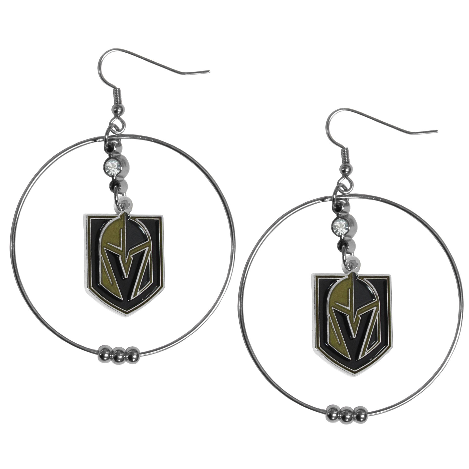 Las Vegas Golden Knights® 2 Inch Hoop Earrings - Our large hoop earrings have a fully cast and enameled Las Vegas Golden Knights® charm with enameled detail and a high polish nickel free chrome finish and rhinestone access. Hypoallergenic fishhook posts.
