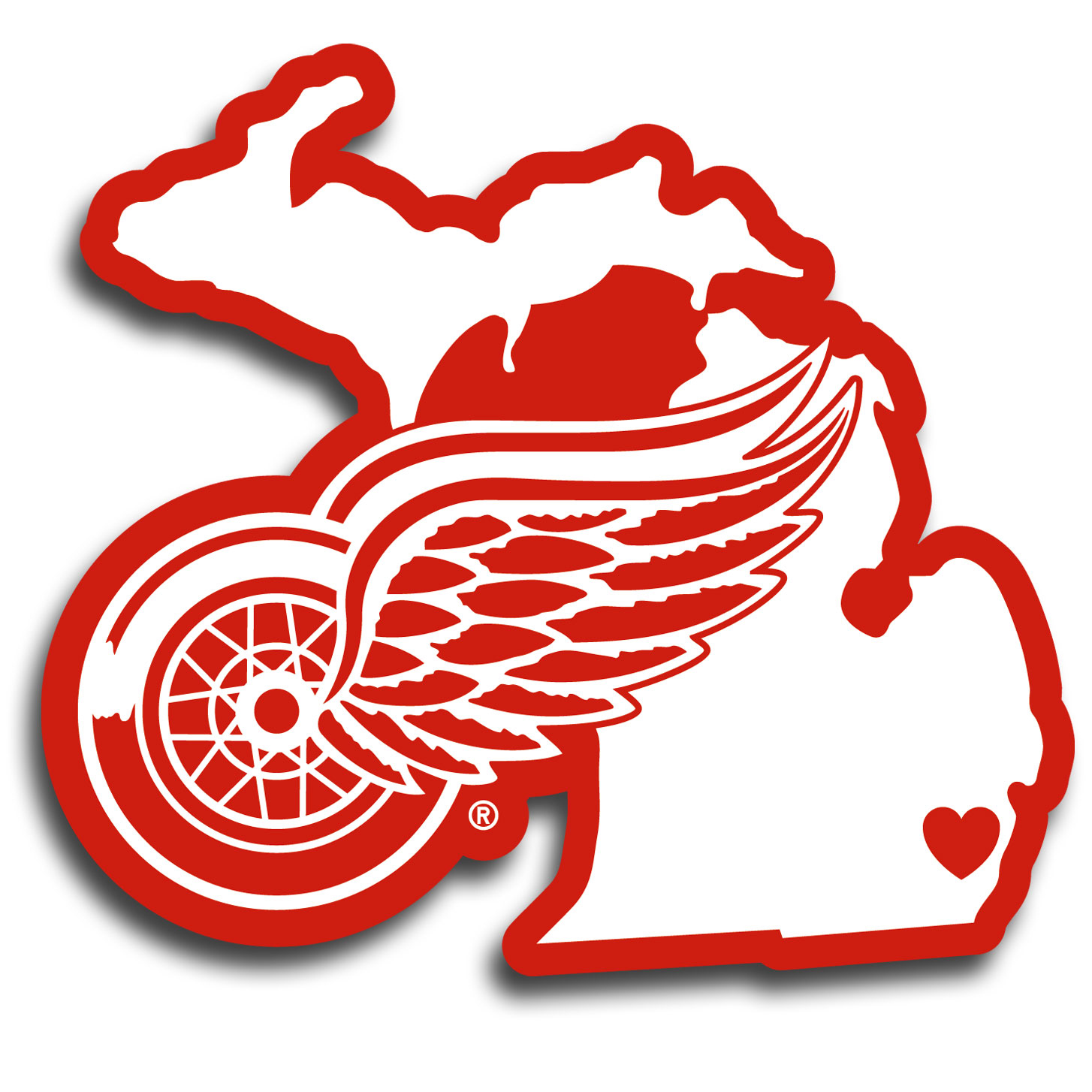 Detroit Red Wings® Home State Decal - It's a home state decal with a sporty twist! This Detroit Red Wings® decal feature the team logo over a silhouette of the state in team colors and a heart marking the home of the team. The decal is approximately 5 inches on repositionable vinyl.