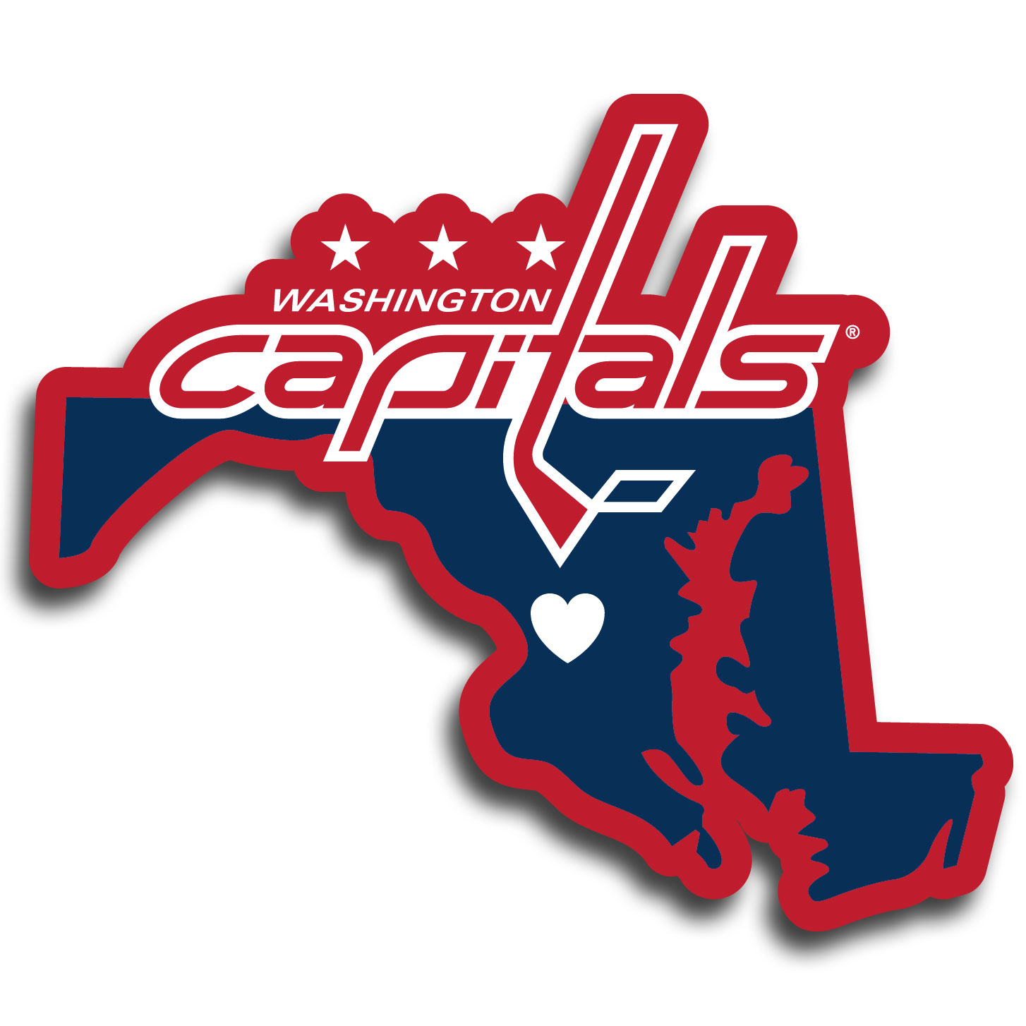Washington Capitals® Home State Decal - It's a home state decal with a sporty twist! This Washington Capitals® decal feature the team logo over a silhouette of the state in team colors and a heart marking the home of the team. The decal is approximately 5 inches on repositionable vinyl.