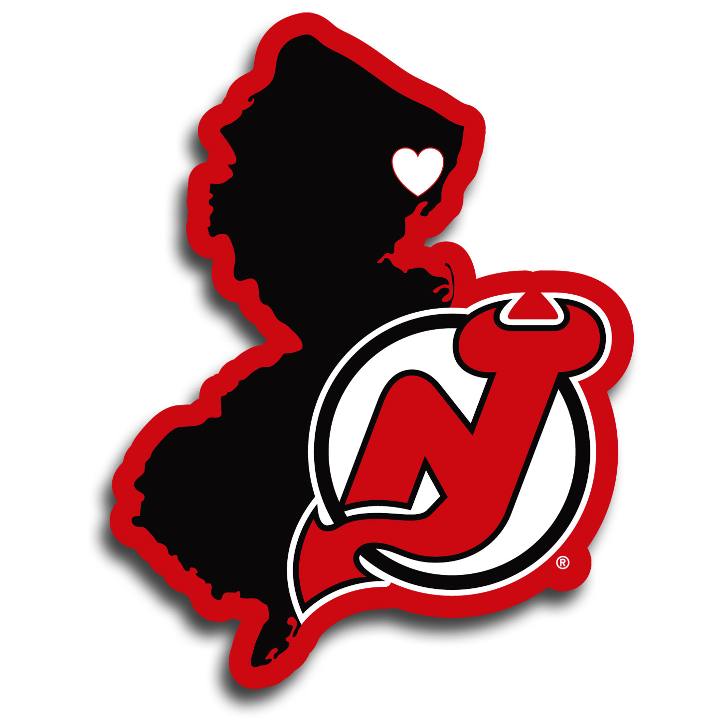 New Jersey Devils® Home State Decal - It's a home state decal with a sporty twist! This New Jersey Devils® decal feature the team logo over a silhouette of the state in team colors and a heart marking the home of the team. The decal is approximately 5 inches on repositionable vinyl.