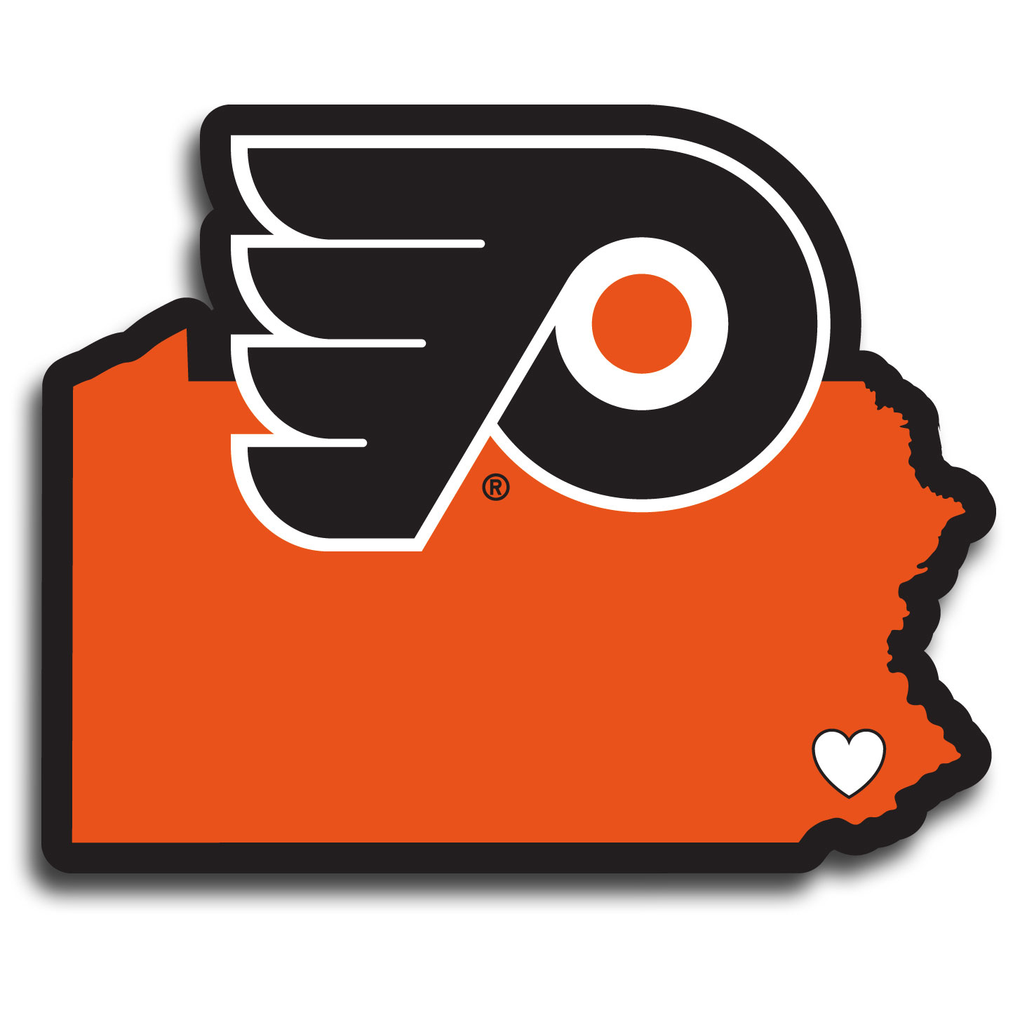 Philadelphia Flyers® Home State Decal - It's a home state decal with a sporty twist! This Philadelphia Flyers® decal feature the team logo over a silhouette of the state in team colors and a heart marking the home of the team. The decal is approximately 5 inches on repositionable vinyl.