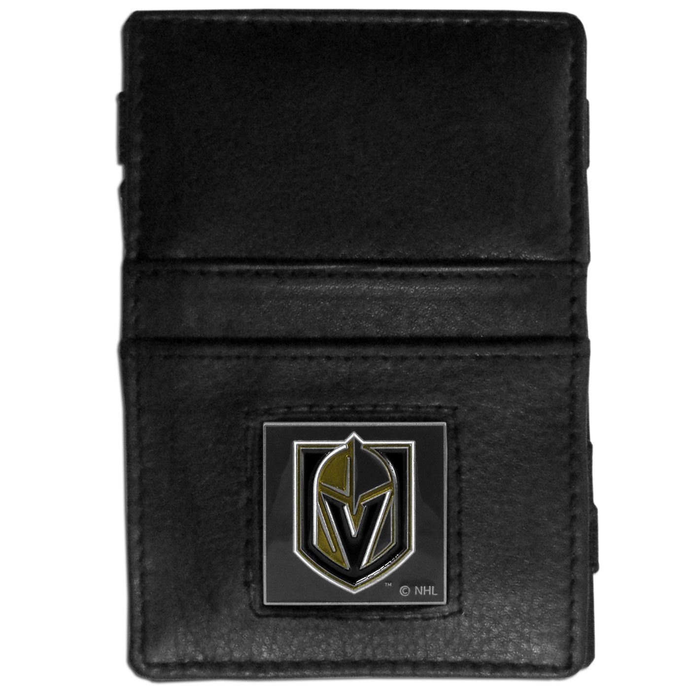 Las Vegas Golden Knights® Leather Jacob's Ladder Wallet - This officially licensed, innovative jacob's ladder wallet design traps cash with just a simple flip of the wallet! There are also outer pockets to store your ID and credit cards. The wallet is made of fine quality leather with a fully cast & enameled Las Vegas Golden Knights® emblem on the front.