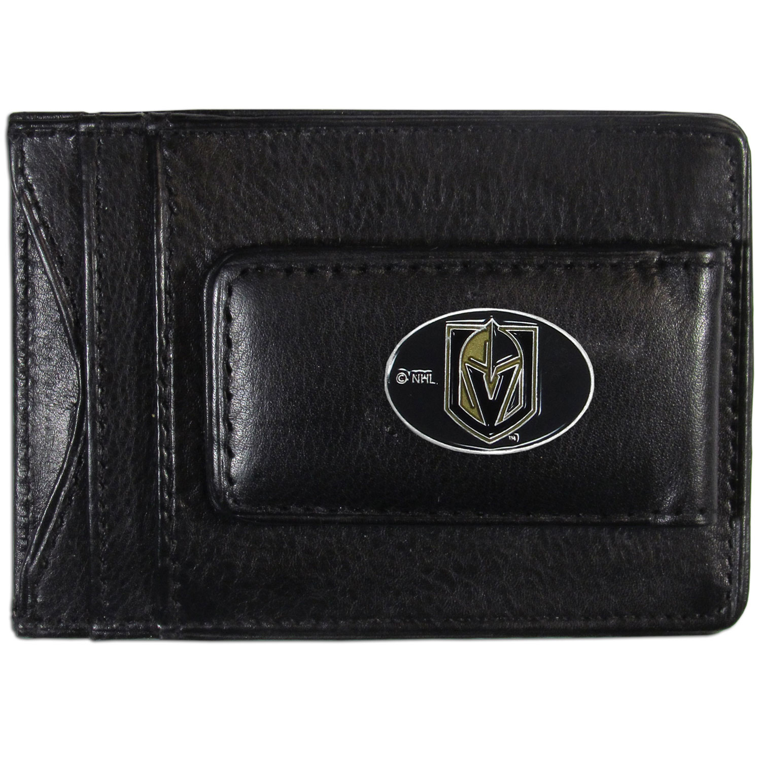 Vegas Golden Knights® Leather Cash & Cardholder - Our Vegas Golden Knights® genuine leather cash & cardholder is a great alternative to the traditional bulky wallet. This compact wallet has credit card slots, windowed ID slot and a magnetic money clip that will not damage your credit cards. The wallet features a metal team emblem.