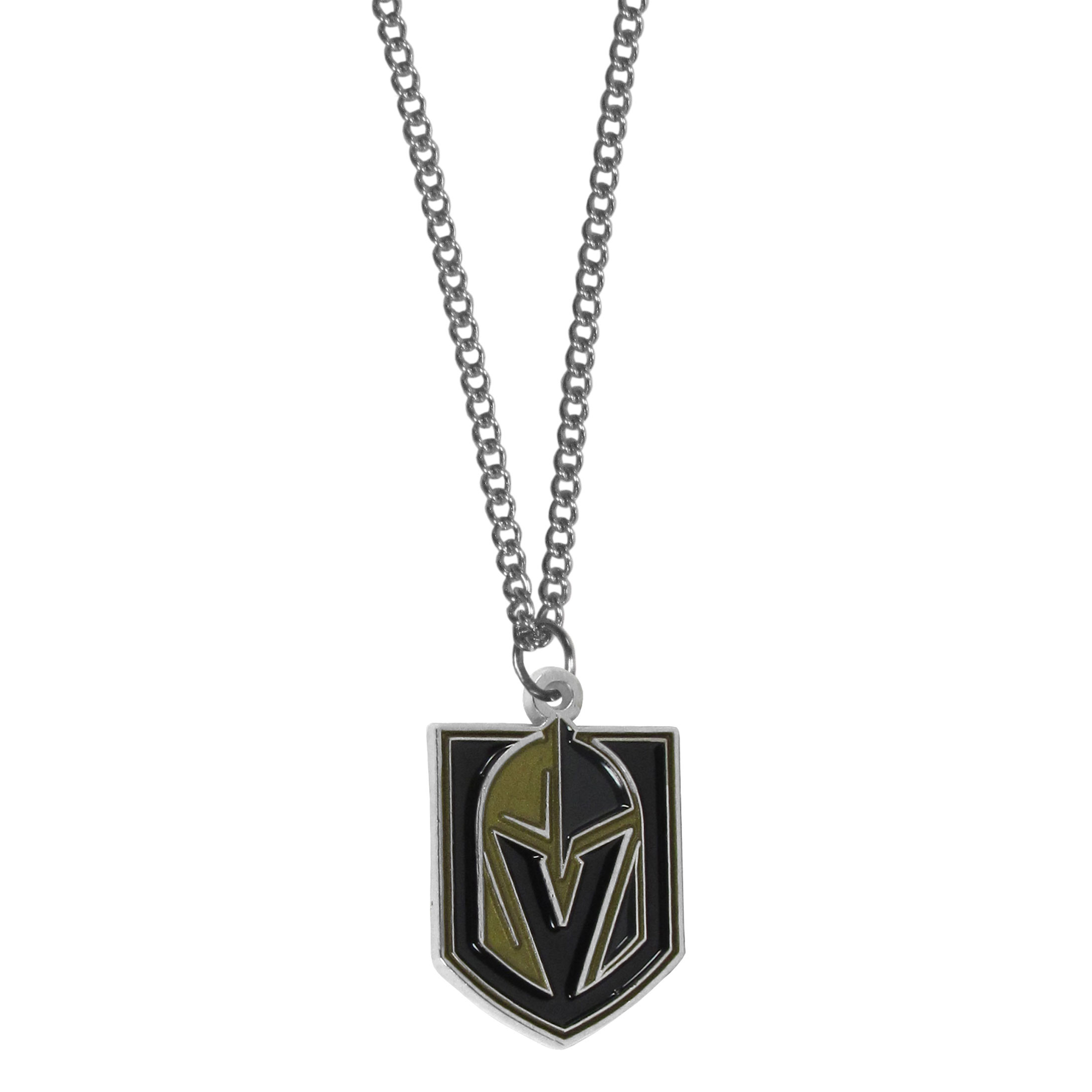 Las Vegas Golden Knights® Chain Necklace with Small Charm - Make a statement with our collegiate chain necklaces. The 22 inch chain features a fully cast, high polish Las Vegas Golden Knights® pendant with vivid enameled details. Perfect accessory for game day and nice enough to wear everyday!