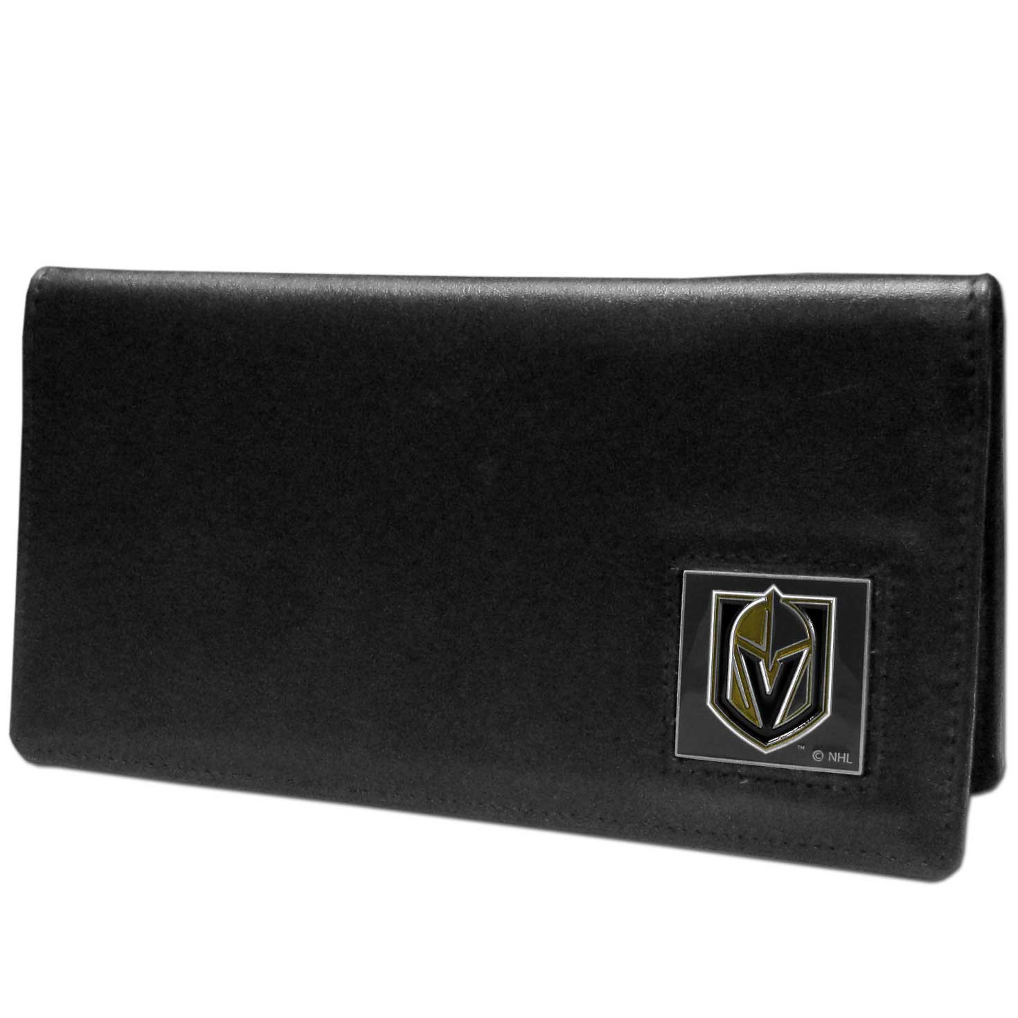 Las Vegas Golden Knights® Leather Checkbook Cover - Our officially licensed checkbook covers is made of fine grain leather and features a fully cast and enameled Las Vegas Golden Knights® emblem. The cover works for both top and side loaded checks and has a plastic sleeve for duplicate check writing.