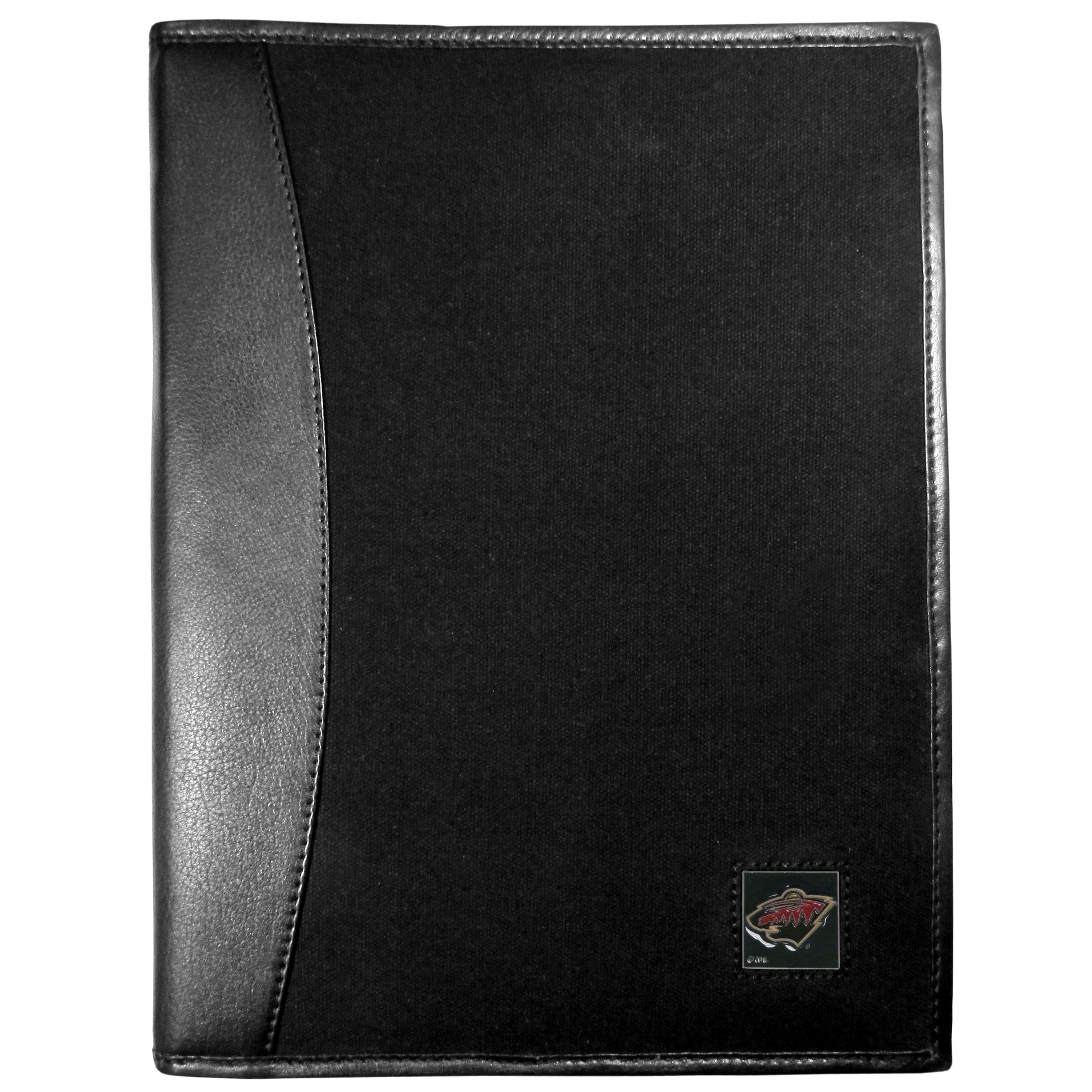 Minnesota Wild® Leather and Canvas Padfolio - Our leather and canvas padfolio perfectly blends form and function. The attractive portfolio is bound in fine grain leather with an attractive canvas finish and the interior is a soft nylon. This high quality business accessory also features a fully cast metal Minnesota Wild® emblem that is subtly set in the corner of the organizer. It is packed with features like 6 card slots for badges, business cards, hotel keys or credit cards and ID with a large pocket for loose papers and a writing tablet slot making it a must-have for the professional on the go.