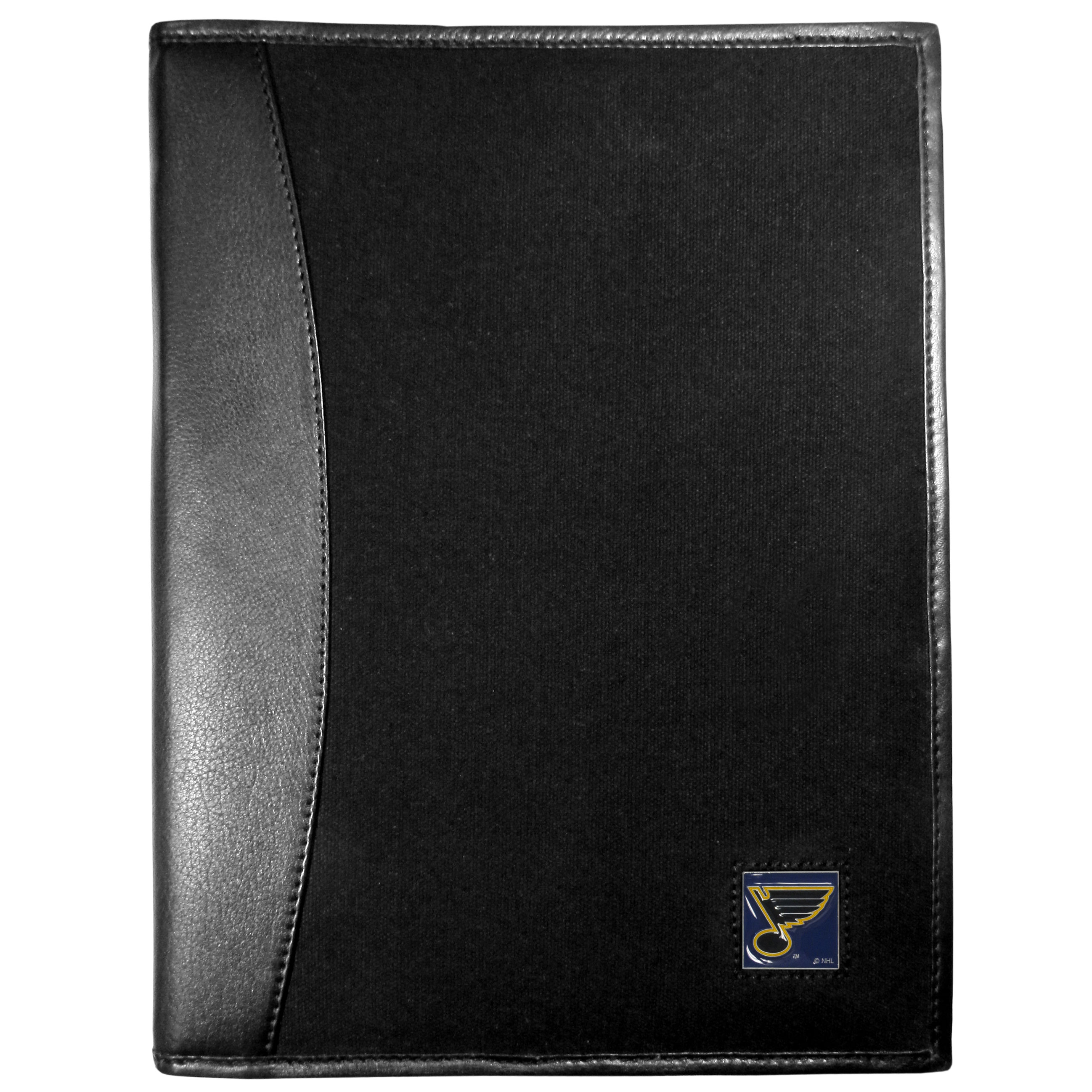 St. Louis Blues® Leather and Canvas Padfolio - Our leather and canvas padfolio perfectly blends form and function. The attractive portfolio is bound in fine grain leather with an attractive canvas finish and the interior is a soft nylon. This high quality business accessory also features a fully cast metal St. Louis Blues® emblem that is subtly set in the corner of the organizer. It is packed with features like 6 card slots for badges, business cards, hotel keys or credit cards and ID with a large pocket for loose papers and a writing tablet slot making it a must-have for the professional on the go.