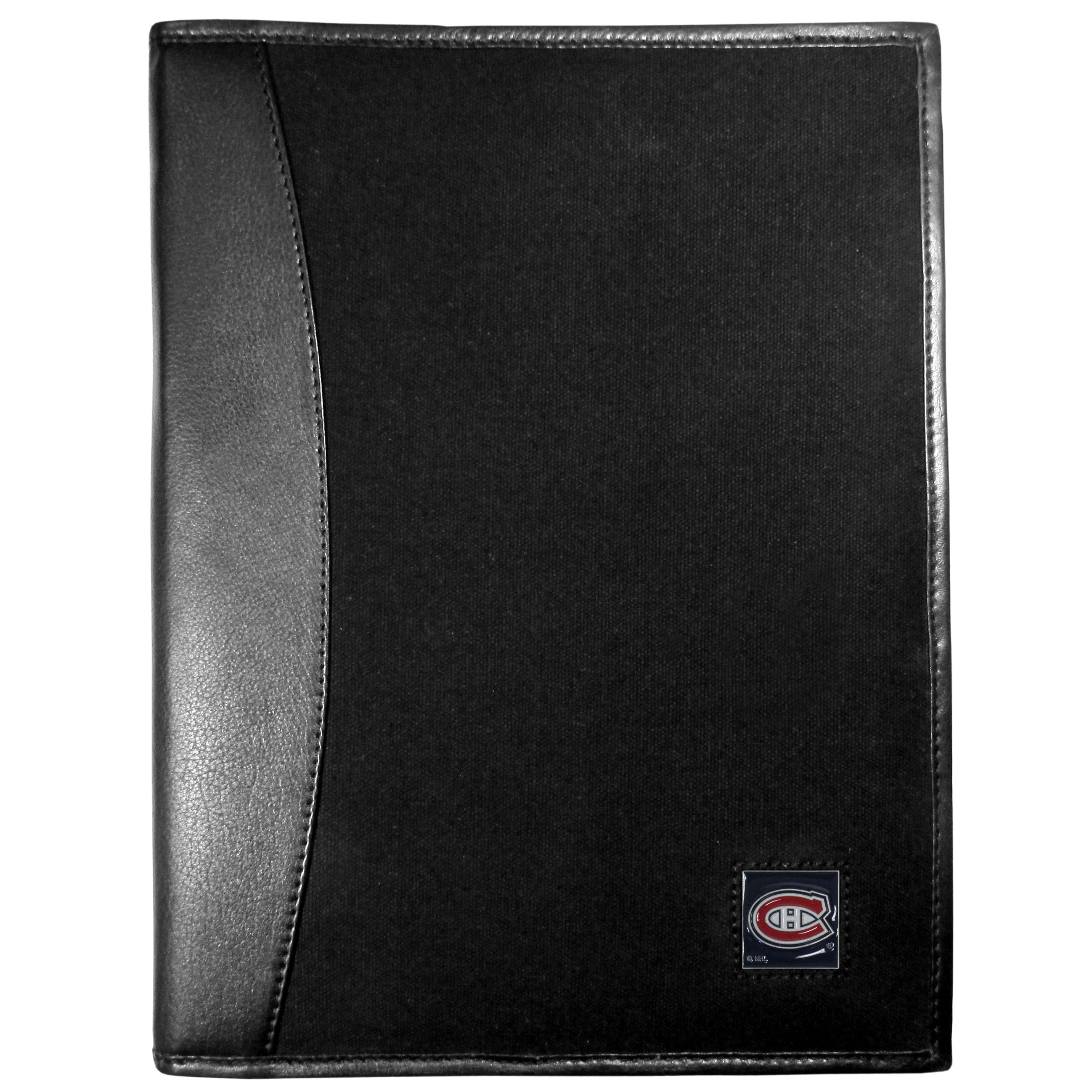 Montreal Canadiens® Leather and Canvas Padfolio - Our leather and canvas padfolio perfectly blends form and function. The attractive portfolio is bound in fine grain leather with an attractive canvas finish and the interior is a soft nylon. This high quality business accessory also features a fully cast metal Montreal Canadiens® emblem that is subtly set in the corner of the organizer. It is packed with features like 6 card slots for badges, business cards, hotel keys or credit cards and ID with a large pocket for loose papers and a writing tablet slot making it a must-have for the professional on the go.