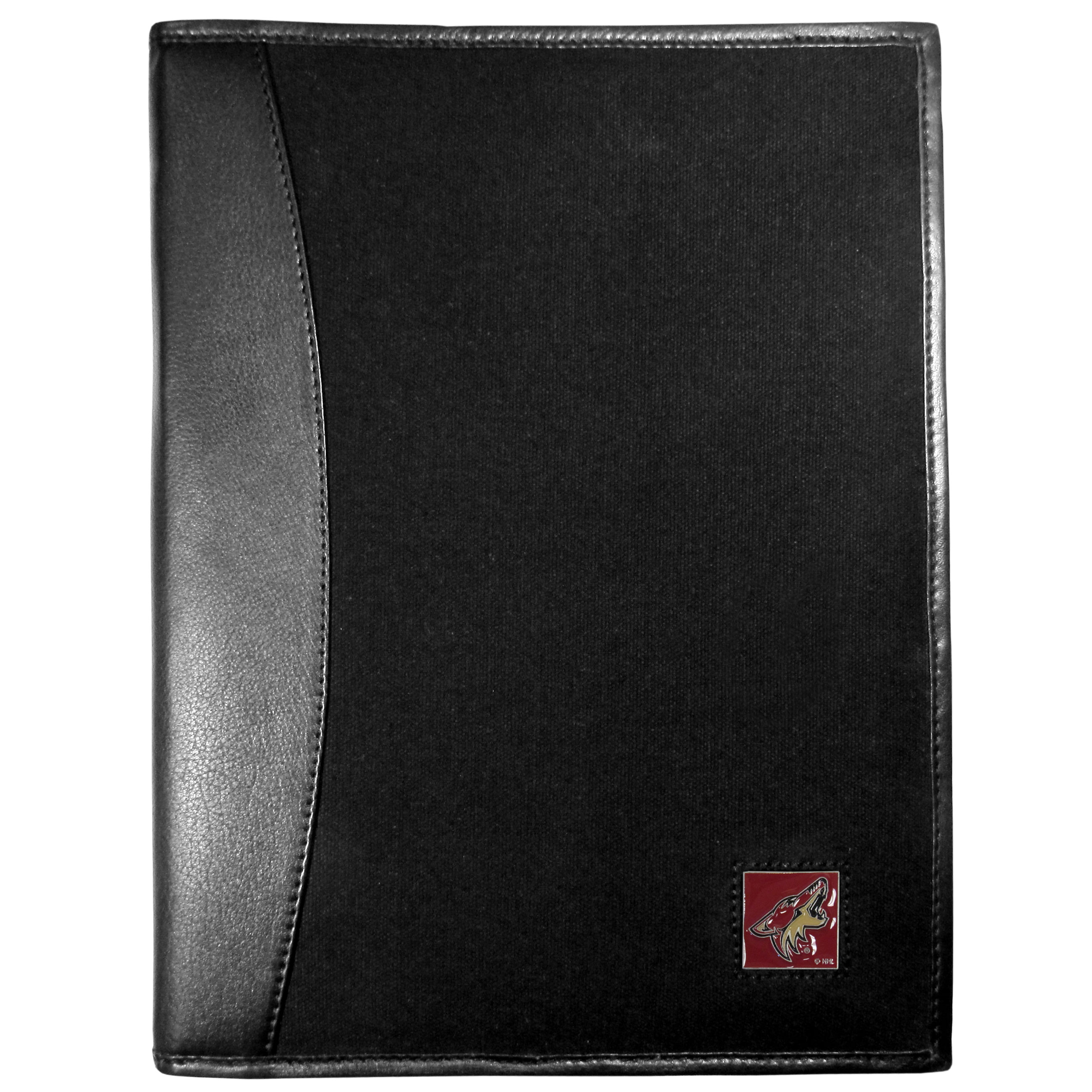 Arizona Coyotes® Leather and Canvas Padfolio - Our leather and canvas padfolio perfectly blends form and function. The attractive portfolio is bound in fine grain leather with an attractive canvas finish and the interior is a soft nylon. This high quality business accessory also features a fully cast metal Arizona Coyotes® emblem that is subtly set in the corner of the organizer. It is packed with features like 6 card slots for badges, business cards, hotel keys or credit cards and ID with a large pocket for loose papers and a writing tablet slot making it a must-have for the professional on the go.
