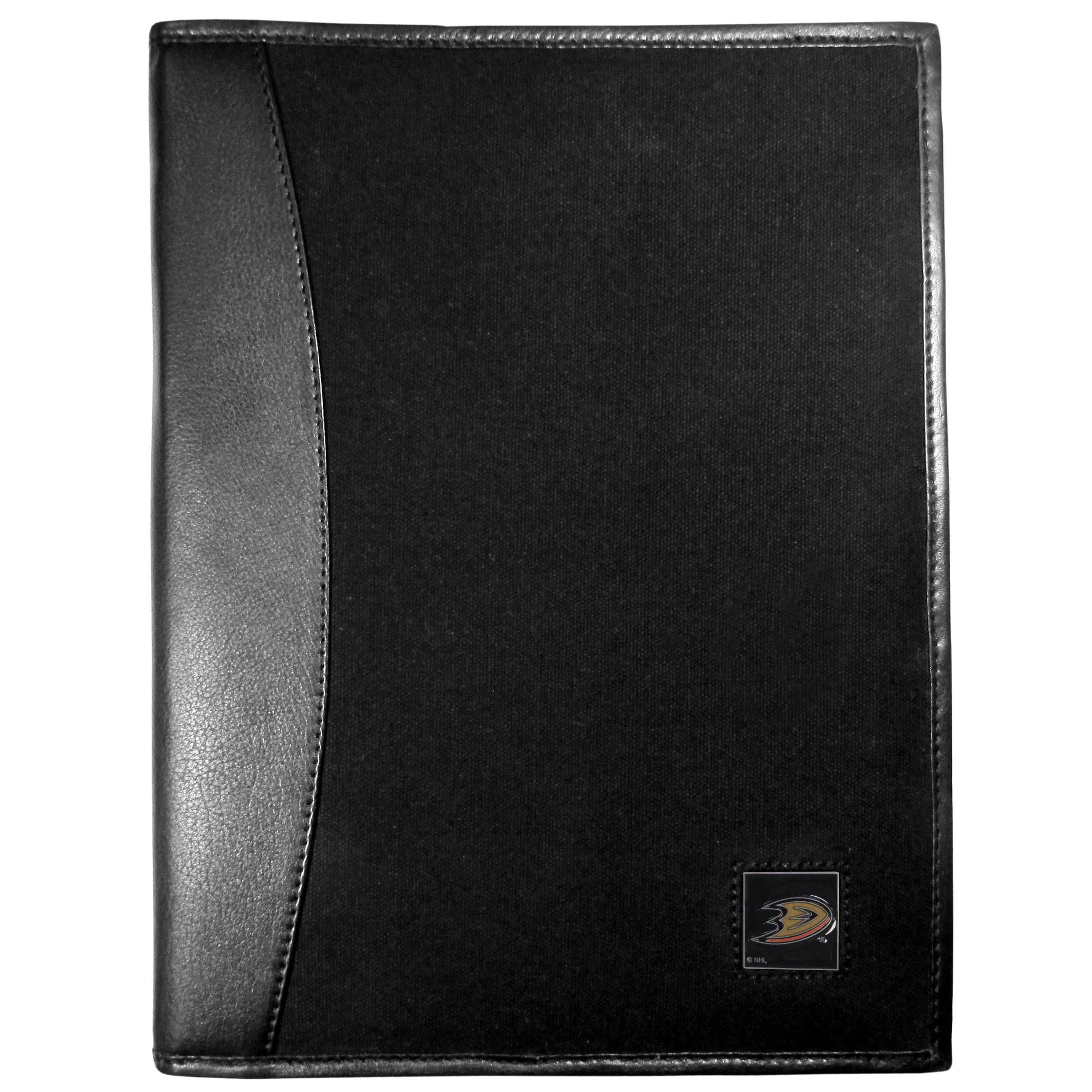 Anaheim Ducks® Leather and Canvas Padfolio - Our leather and canvas padfolio perfectly blends form and function. The attractive portfolio is bound in fine grain leather with an attractive canvas finish and the interior is a soft nylon. This high quality business accessory also features a fully cast metal Anaheim Ducks® emblem that is subtly set in the corner of the organizer. It is packed with features like 6 card slots for badges, business cards, hotel keys or credit cards and ID with a large pocket for loose papers and a writing tablet slot making it a must-have for the professional on the go.