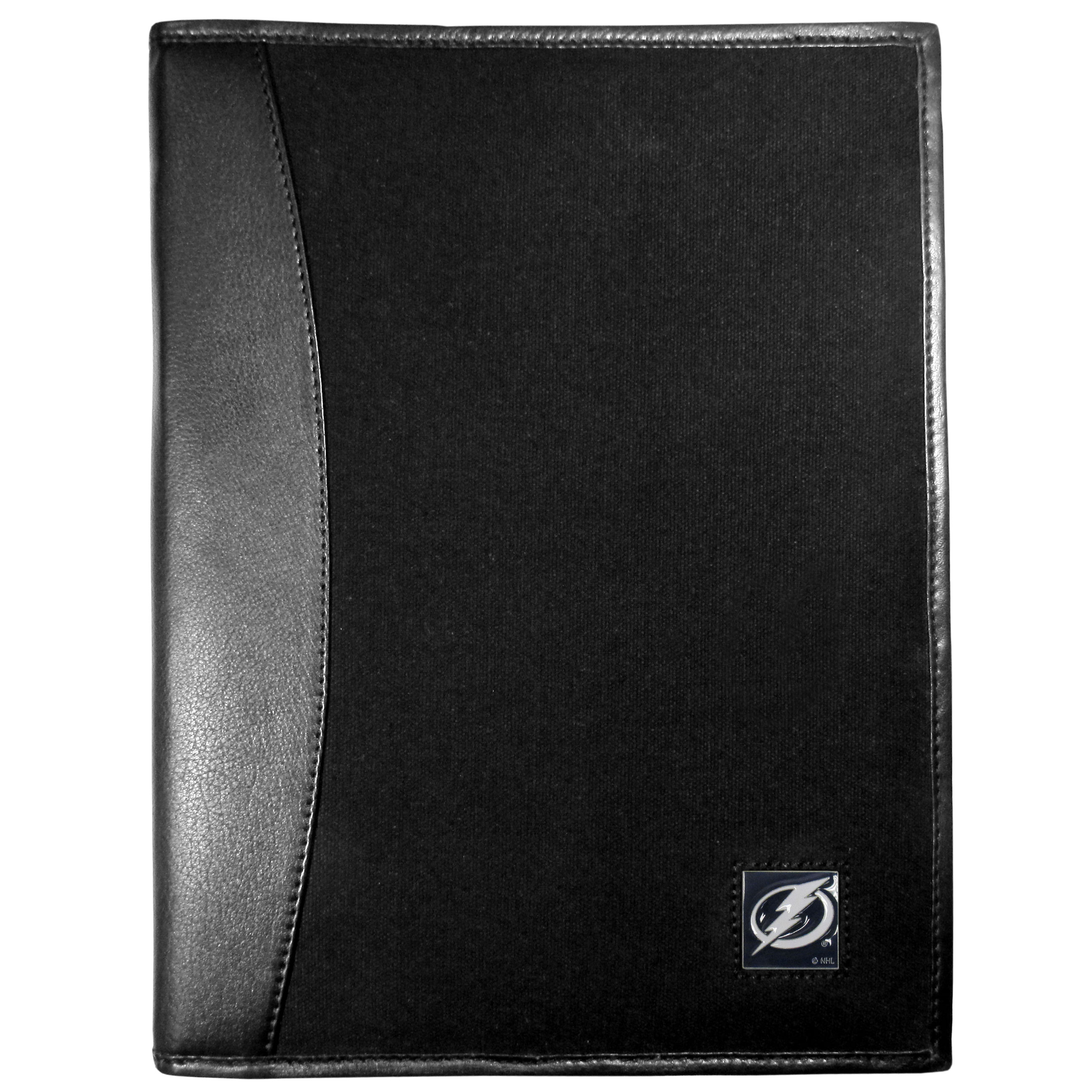 Tampa Bay Lightning® Leather and Canvas Padfolio - Our leather and canvas padfolio perfectly blends form and function. The attractive portfolio is bound in fine grain leather with an attractive canvas finish and the interior is a soft nylon. This high quality business accessory also features a fully cast metal Tampa Bay Lightning® emblem that is subtly set in the corner of the organizer. It is packed with features like 6 card slots for badges, business cards, hotel keys or credit cards and ID with a large pocket for loose papers and a writing tablet slot making it a must-have for the professional on the go.